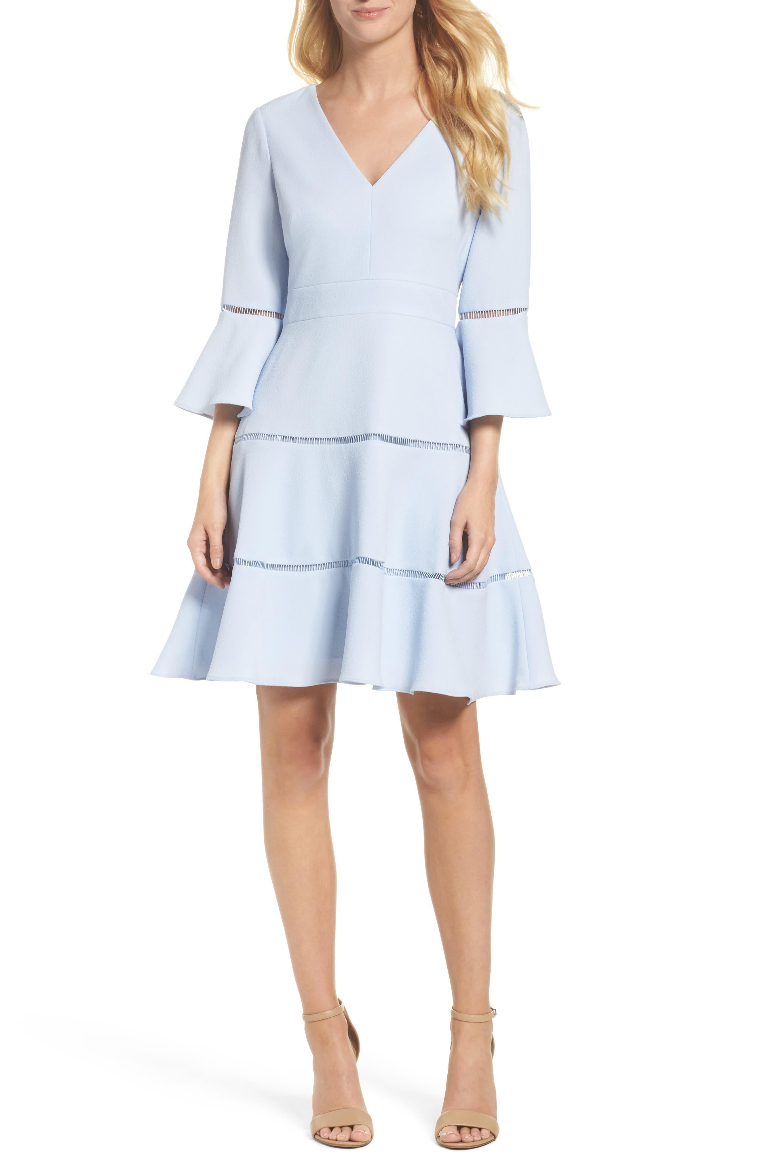 Alternate Image 1 Selected - Eliza J Lace Inset Fit & Flare Dress (Regular & Petite)
