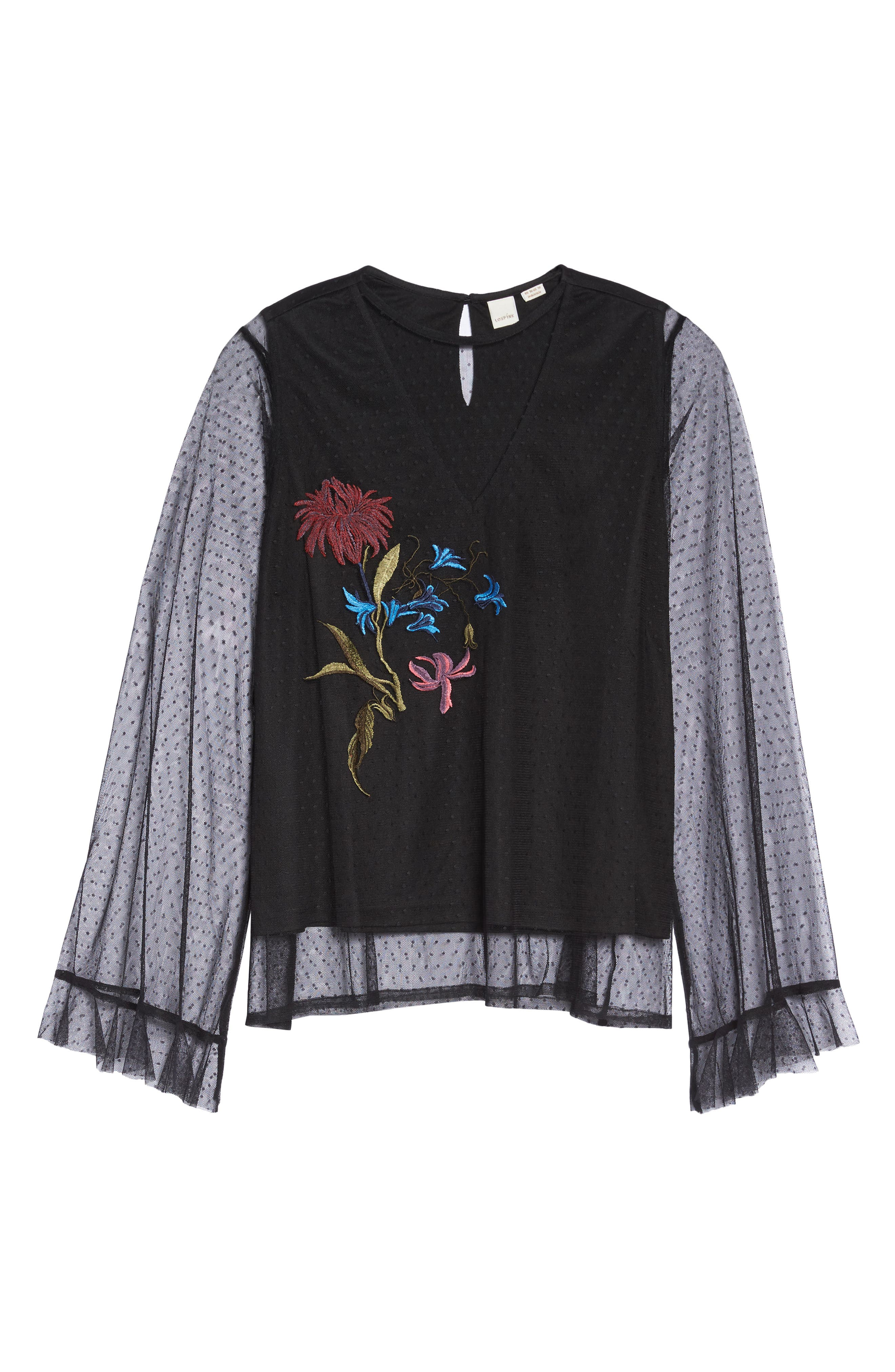 Embroidered Swing Top,                             Alternate thumbnail 6, color,                             Black