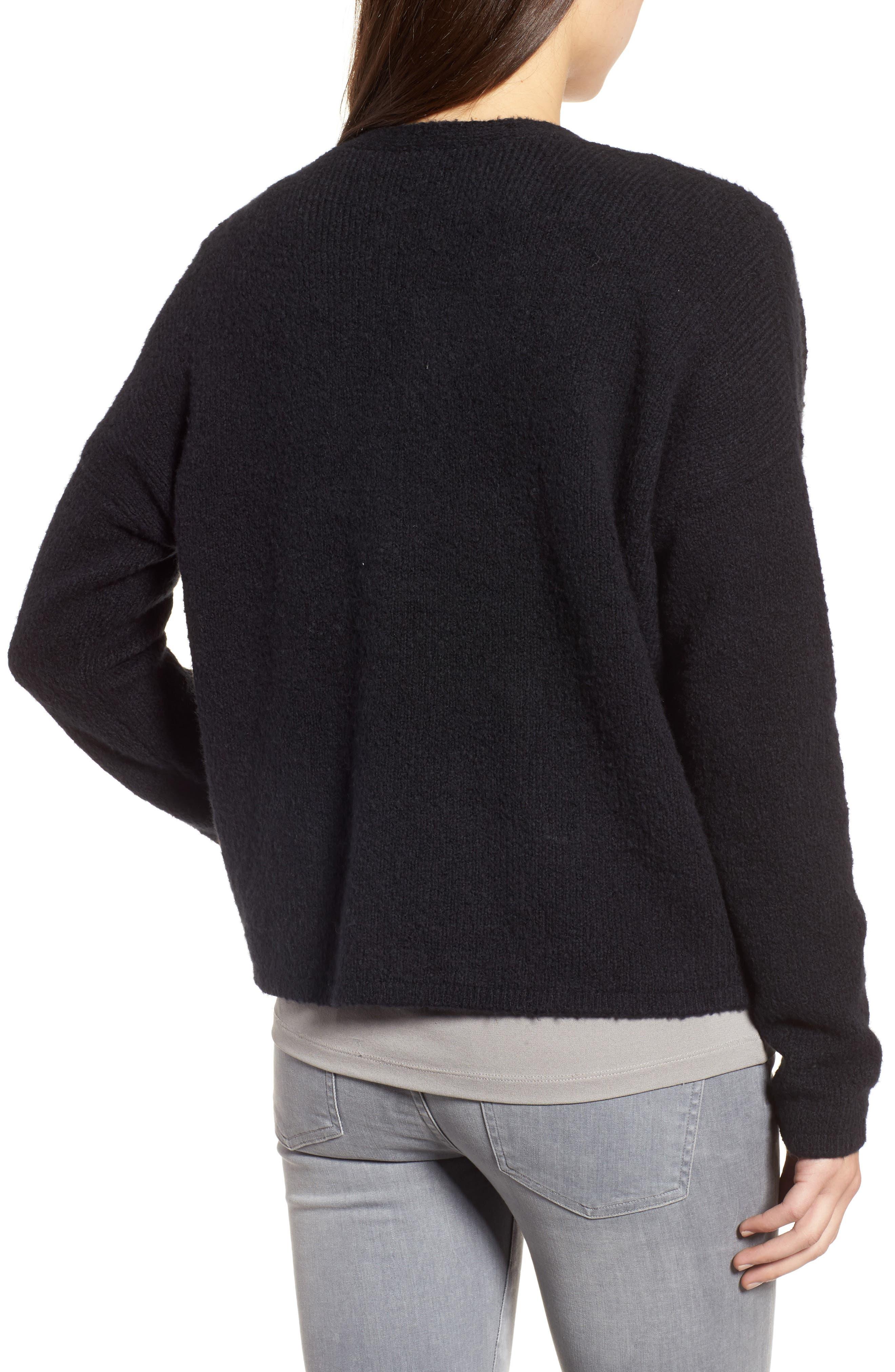 Organic Cotton Blend Cardigan,                             Alternate thumbnail 2, color,                             Black