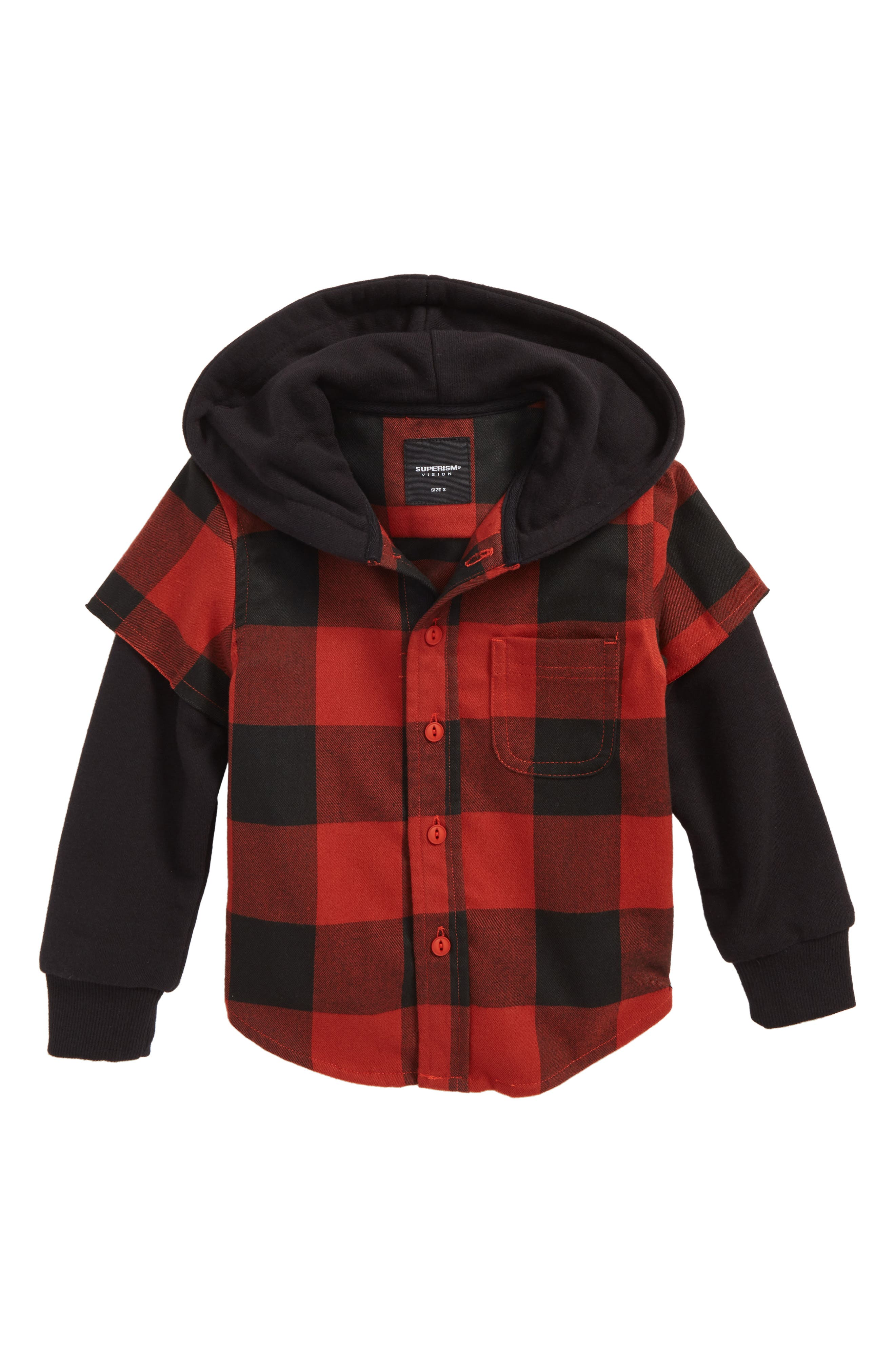 Alternate Image 1 Selected - Superism Rylan Check Hooded Shirt (Toddler Boys & Little Boys)
