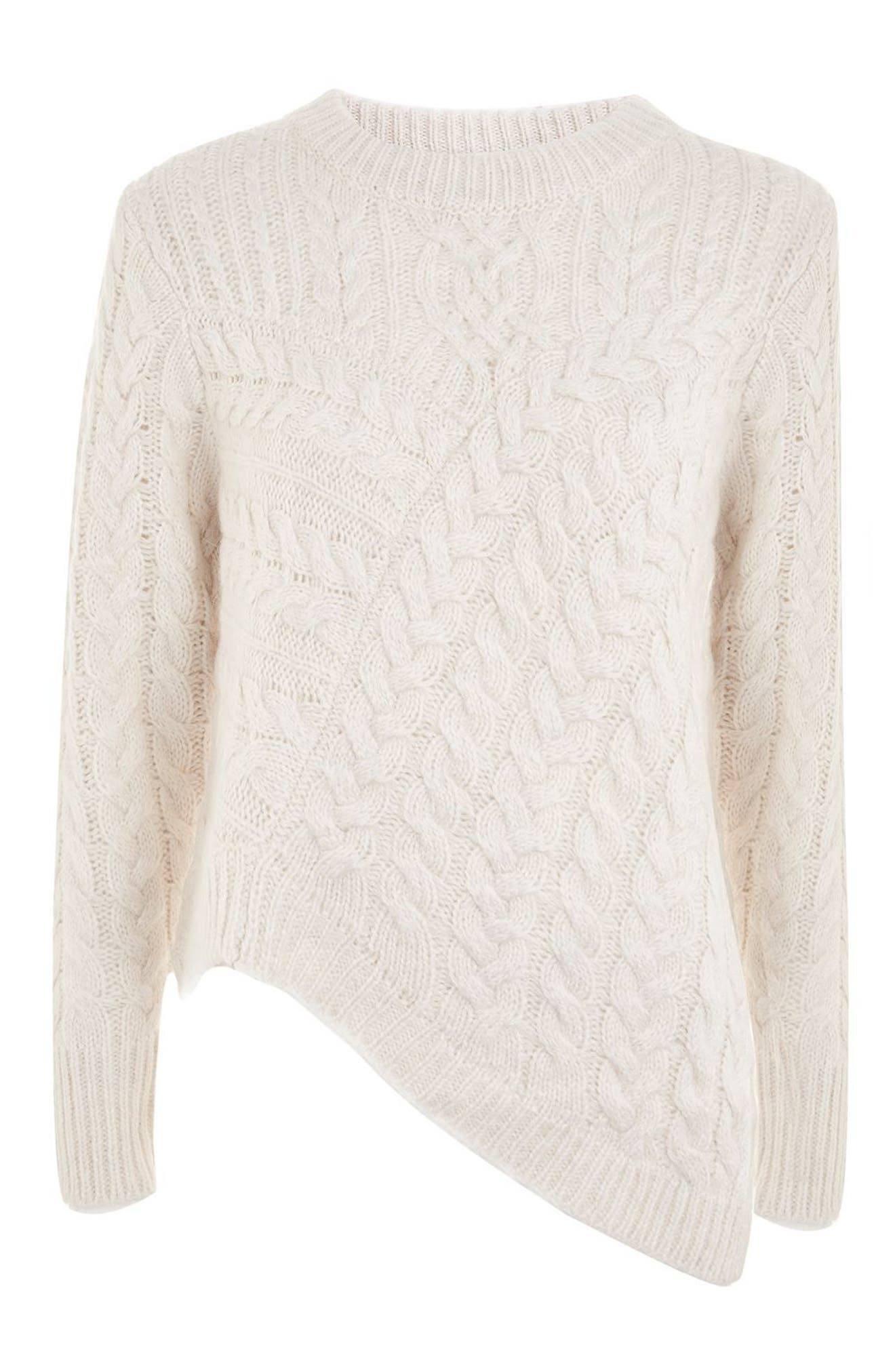 Asymmetrical Cable Knit Sweater,                             Alternate thumbnail 4, color,                             Oatmeal