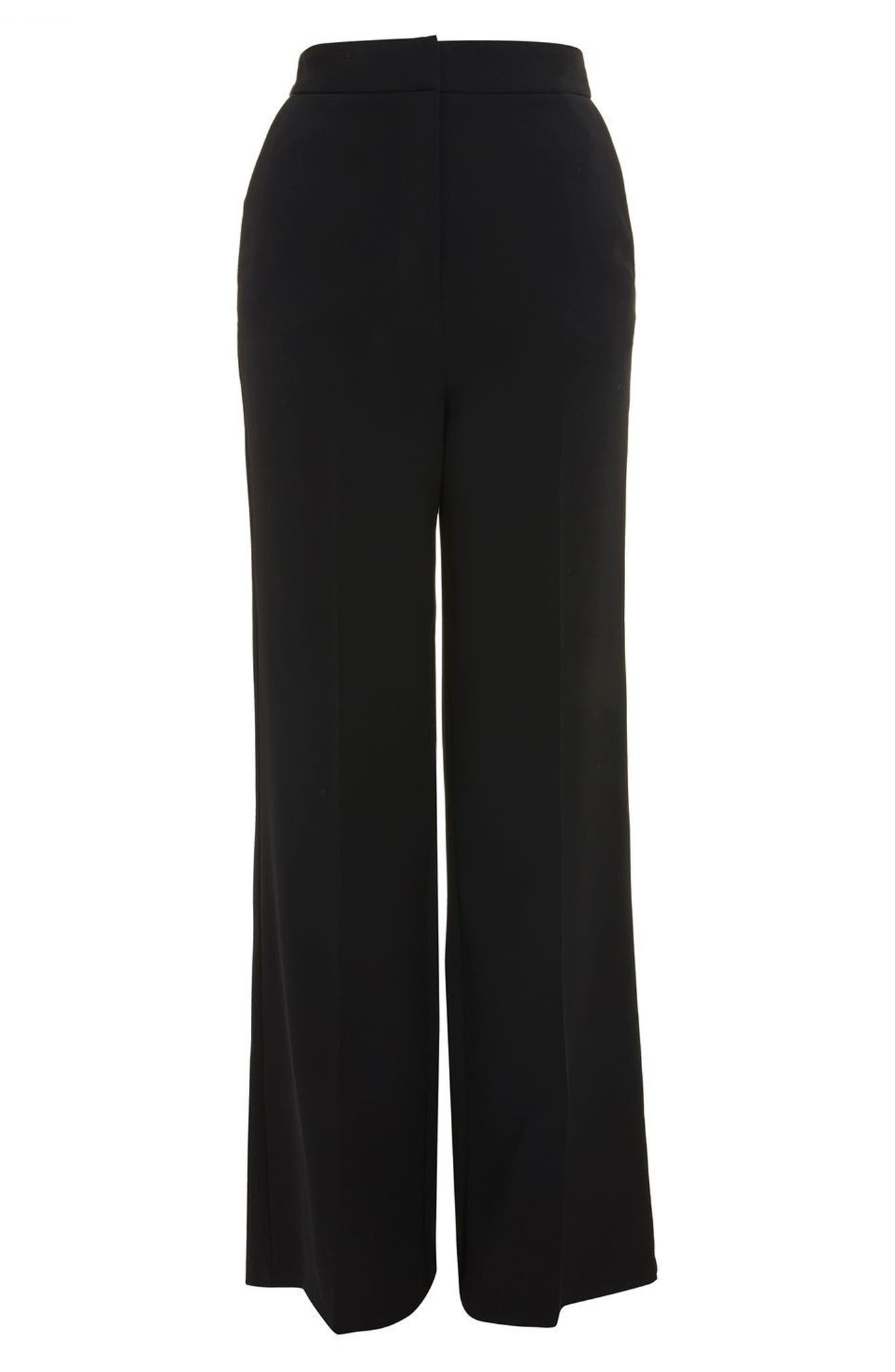 High Waist Wide Leg Trousers,                             Alternate thumbnail 4, color,                             Black