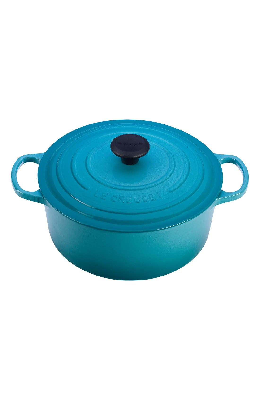 Signature 7 1/4 Quart Round Enamel Cast Iron French/Dutch Oven,                             Main thumbnail 1, color,                             Caribbean
