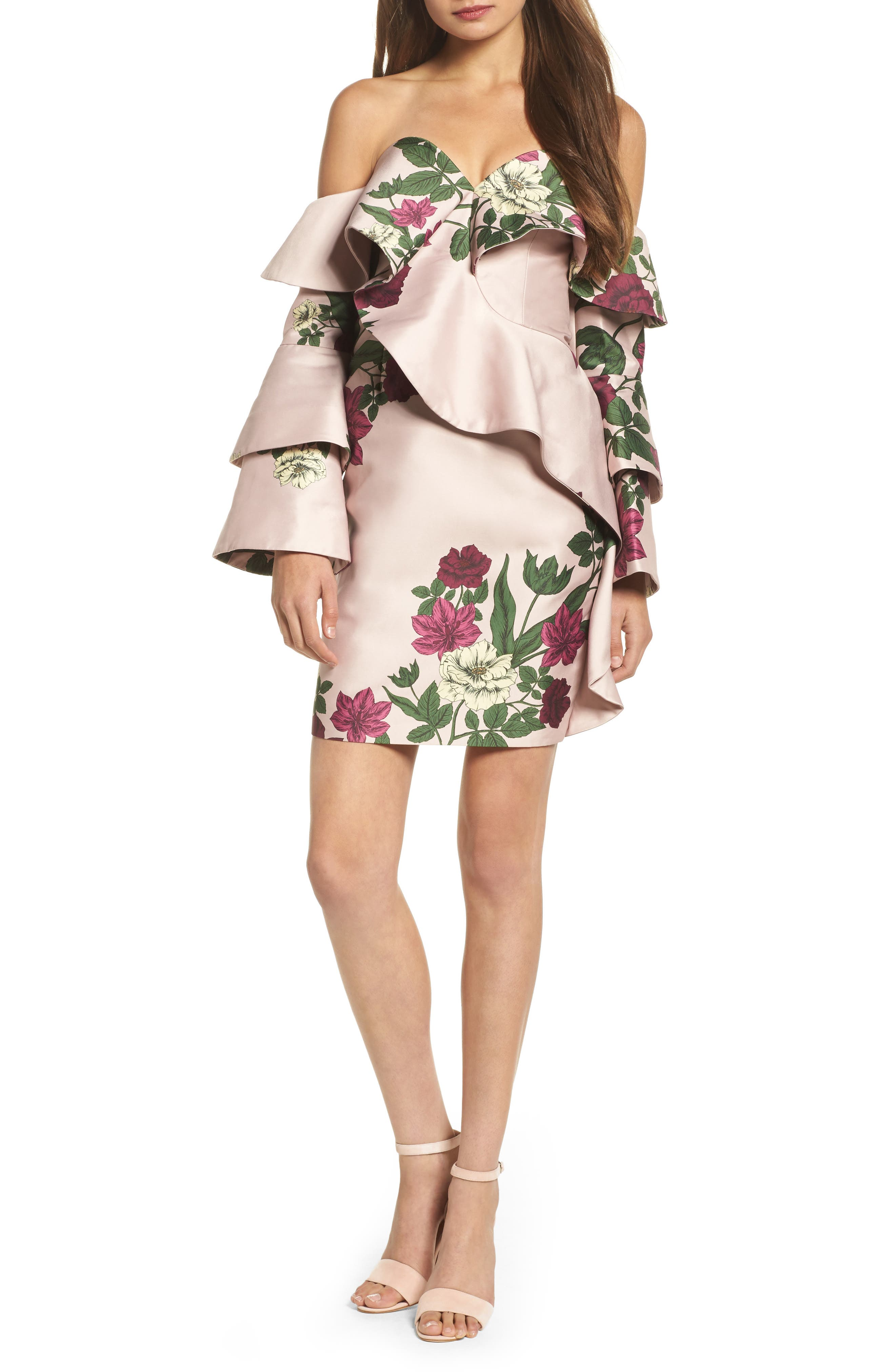 Night Lights Off the Shoulder Minidress,                         Main,                         color, Blush Floral