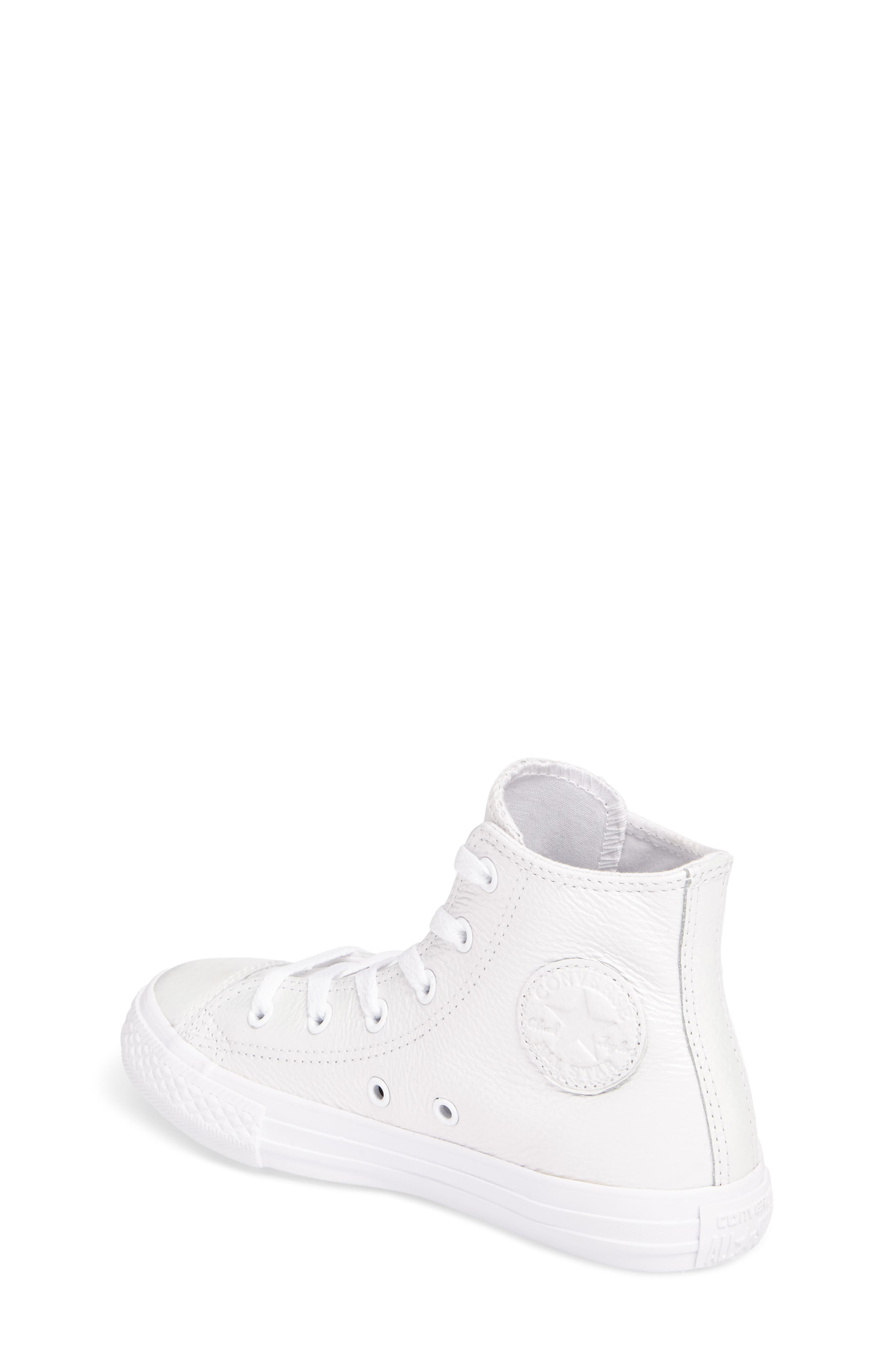 Chuck Taylor<sup>®</sup> All Star<sup>®</sup> Iridescent Leather High Top Sneaker,                             Alternate thumbnail 2, color,                             White Leather