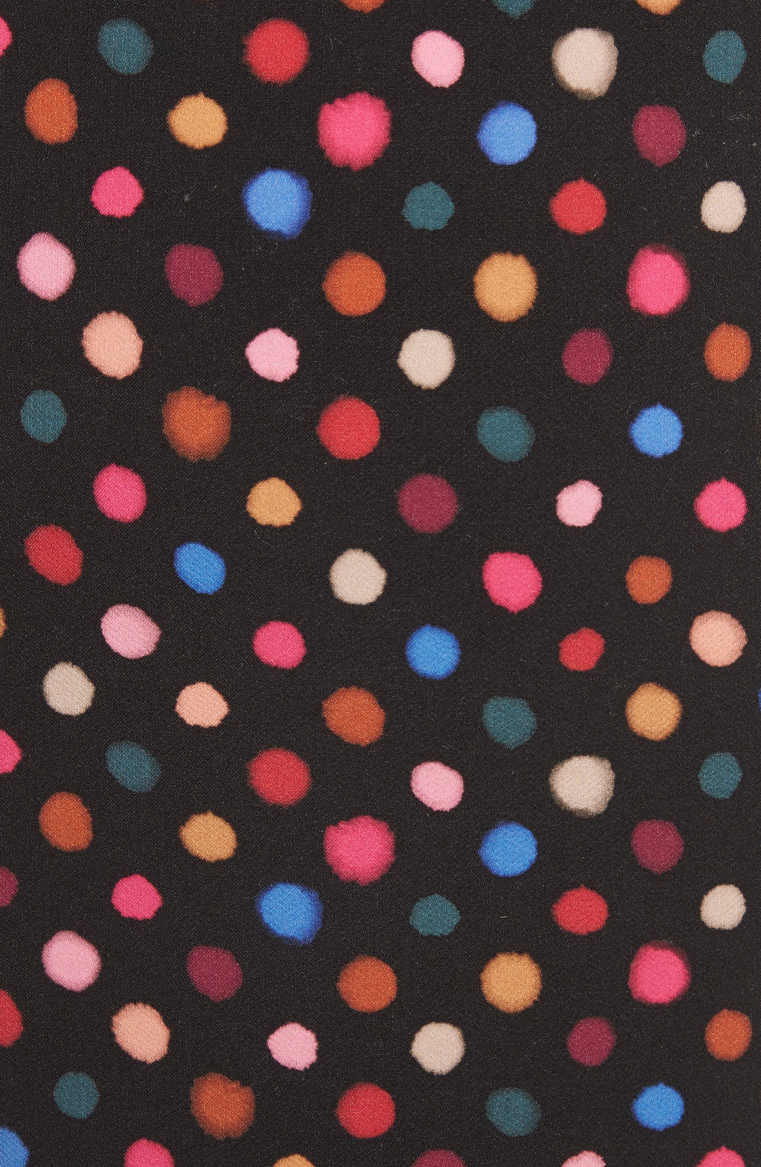 Portia Polka Dot Trumpet Skirt,                             Alternate thumbnail 5, color,                             Rainbow Polka