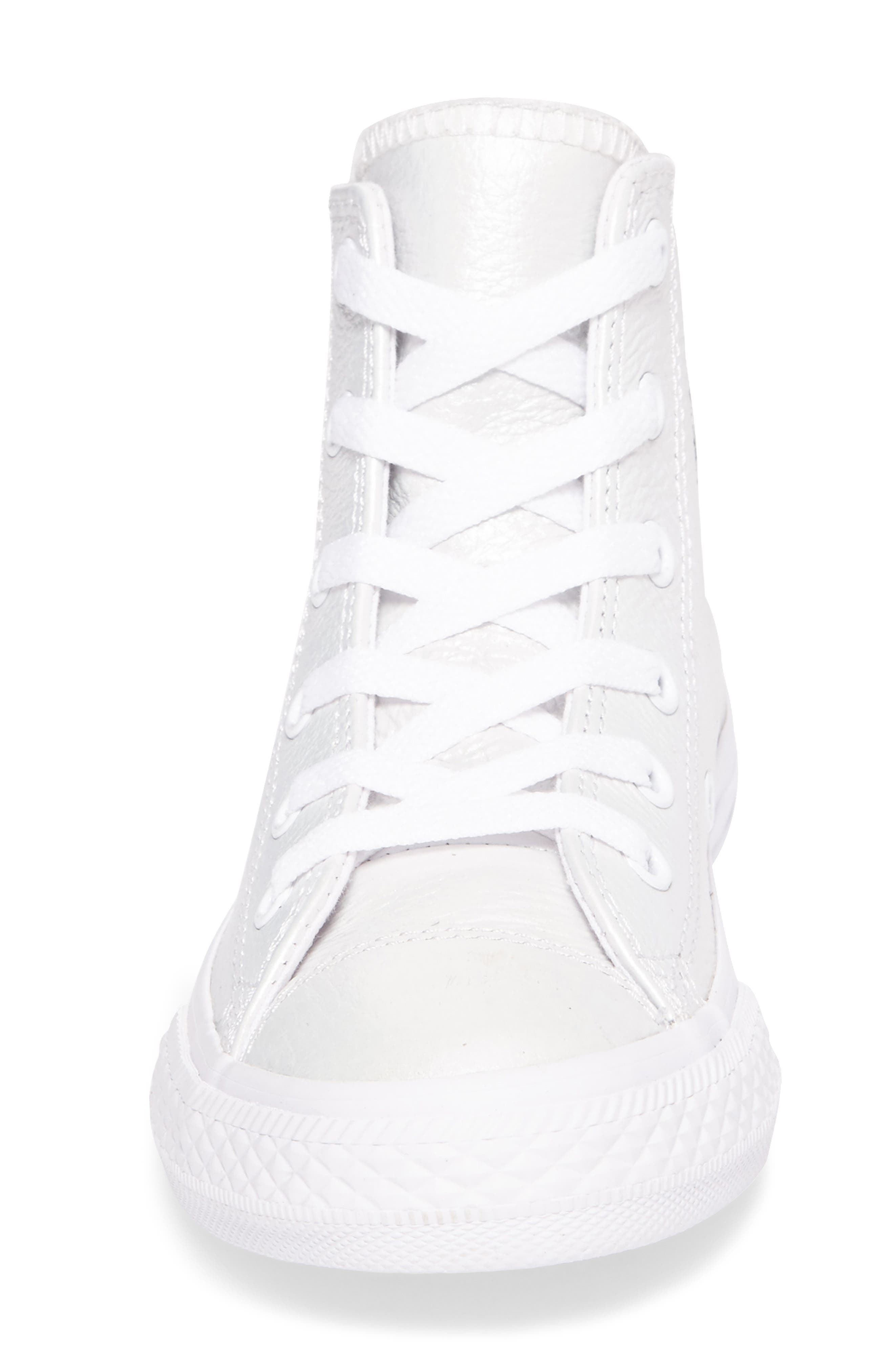 Chuck Taylor<sup>®</sup> All Star<sup>®</sup> Iridescent Leather High Top Sneaker,                             Alternate thumbnail 4, color,                             White Leather