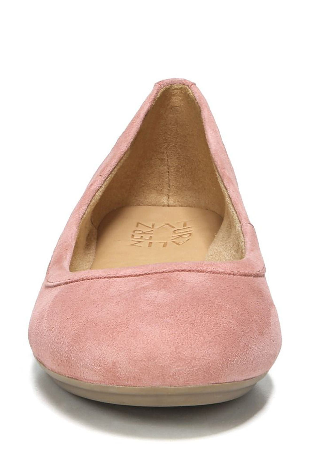Brittany Ballet Flat,                             Alternate thumbnail 4, color,                             Peony Pink Suede