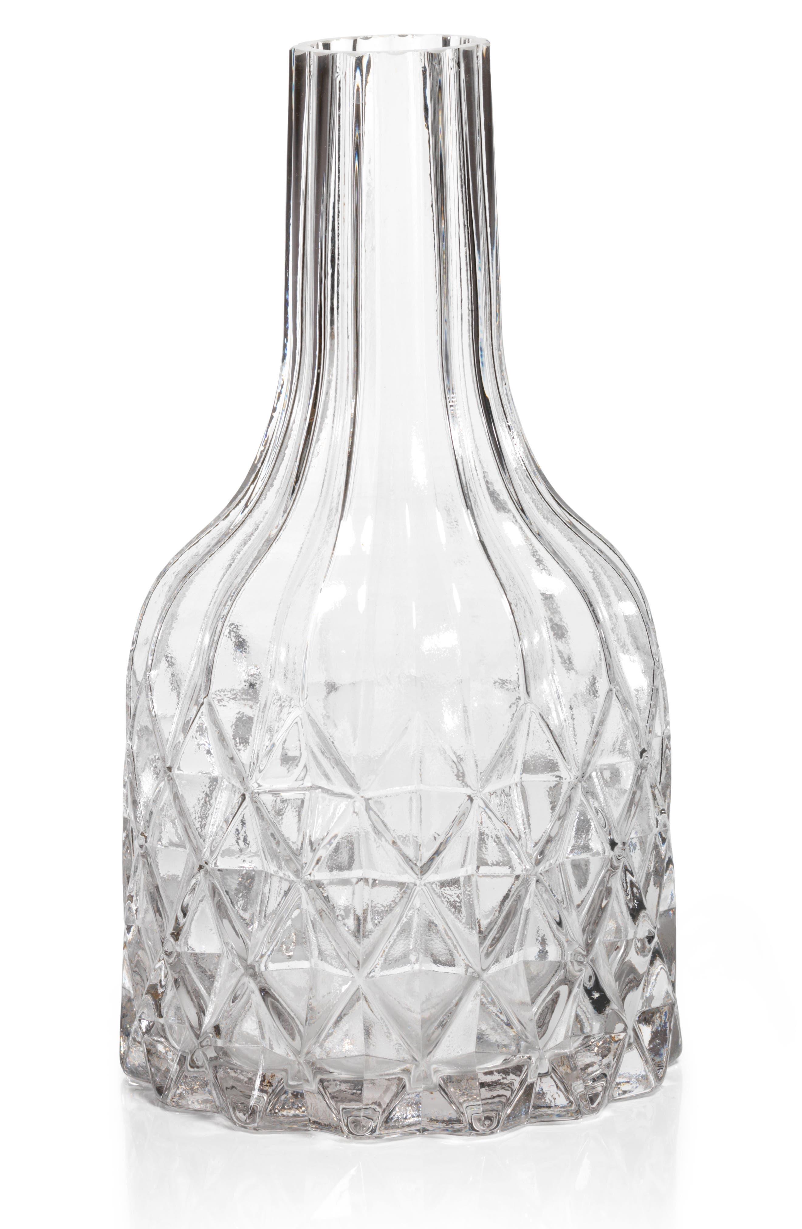Maya Cut Glass Vase,                         Main,                         color, Clear