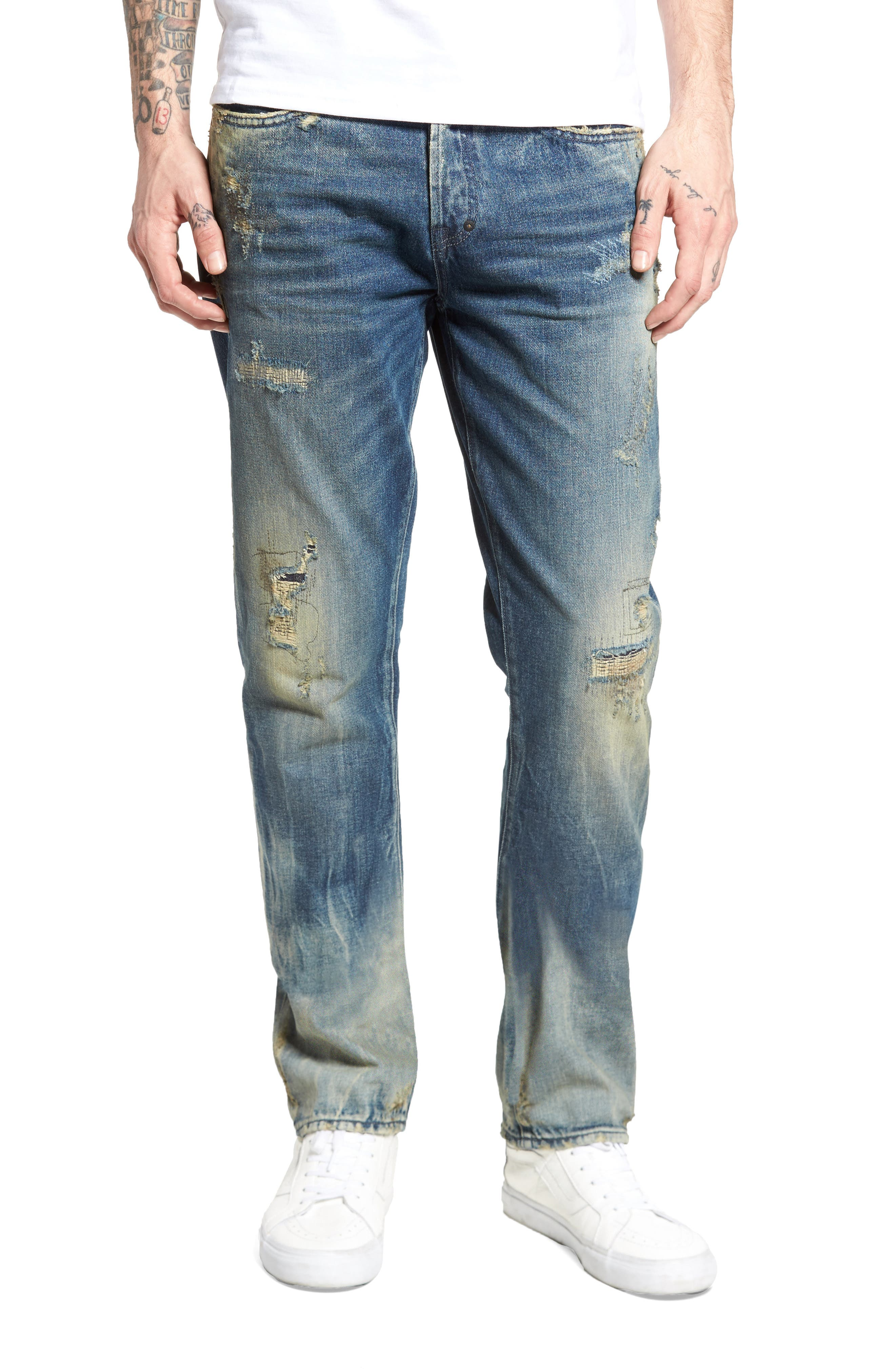 Slim Straight Leg Jeans,                         Main,                         color, Hip