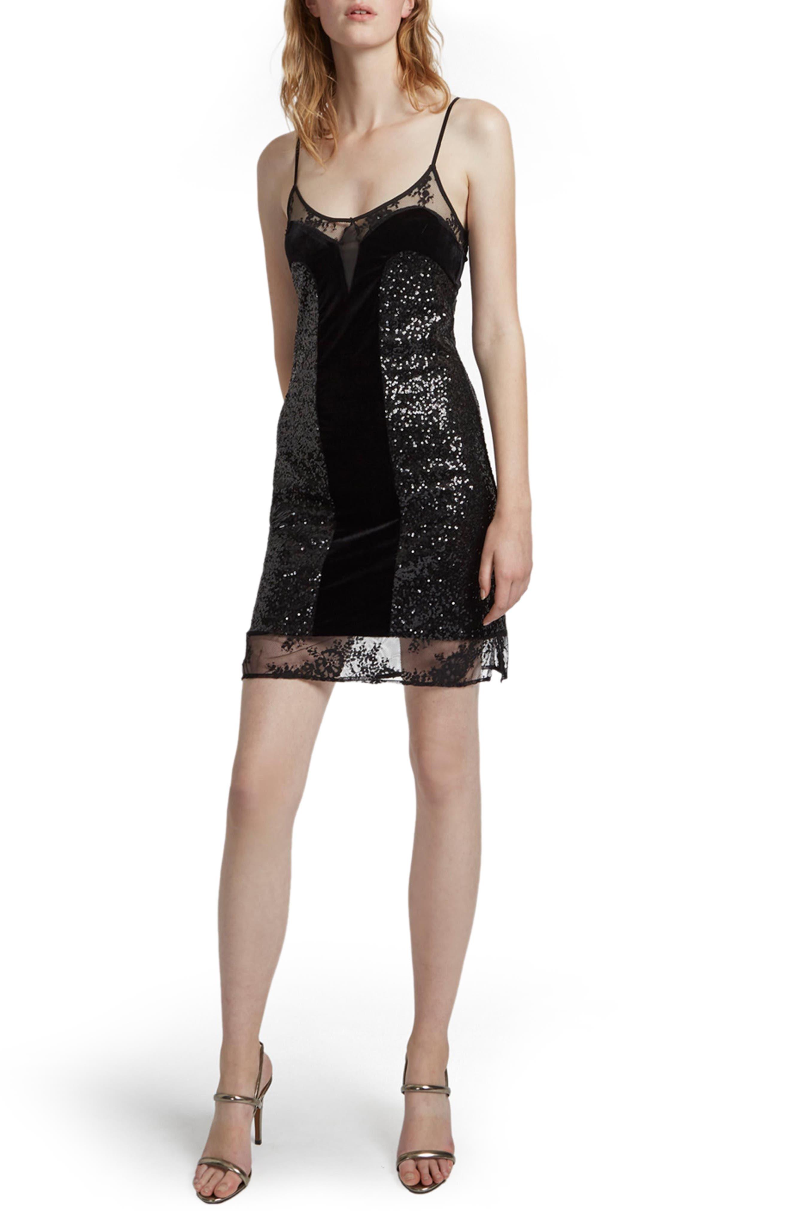 Iris Sequin Slipdress,                         Main,                         color, Black