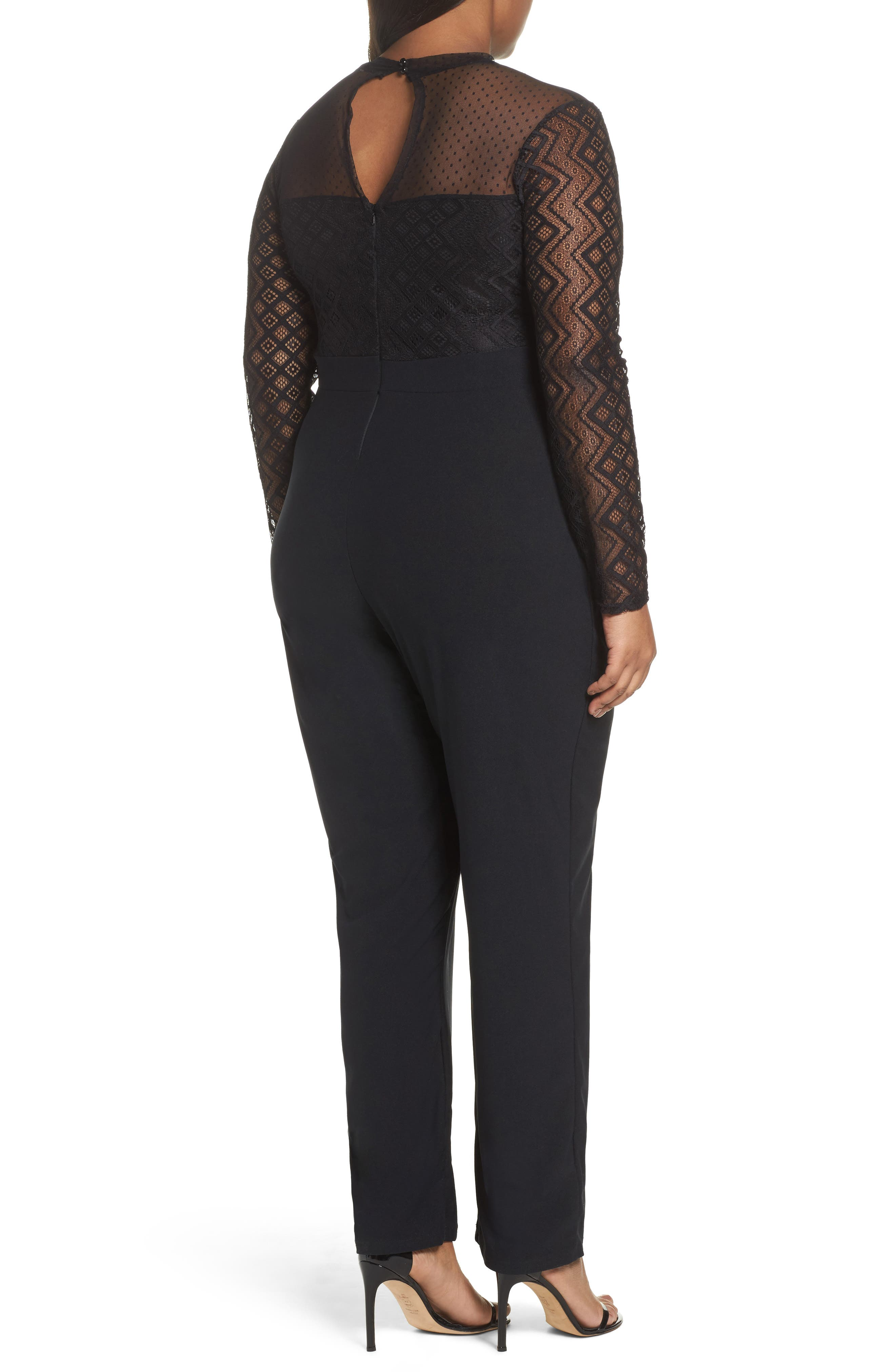 Alternate Image 2  - LOST INK Lace Overlay Jumpsuit (Plus Size)