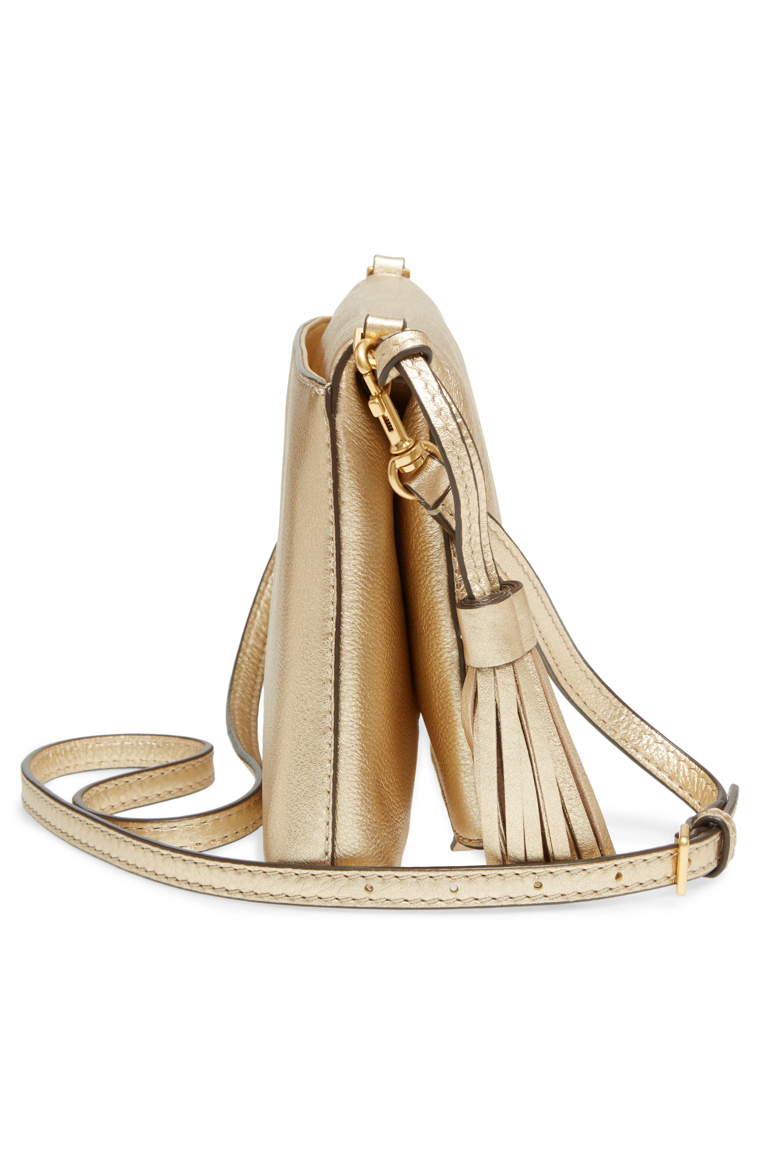 McGraw Metallic Leather Crossbody Bag,                             Alternate thumbnail 5, color,                             Gold