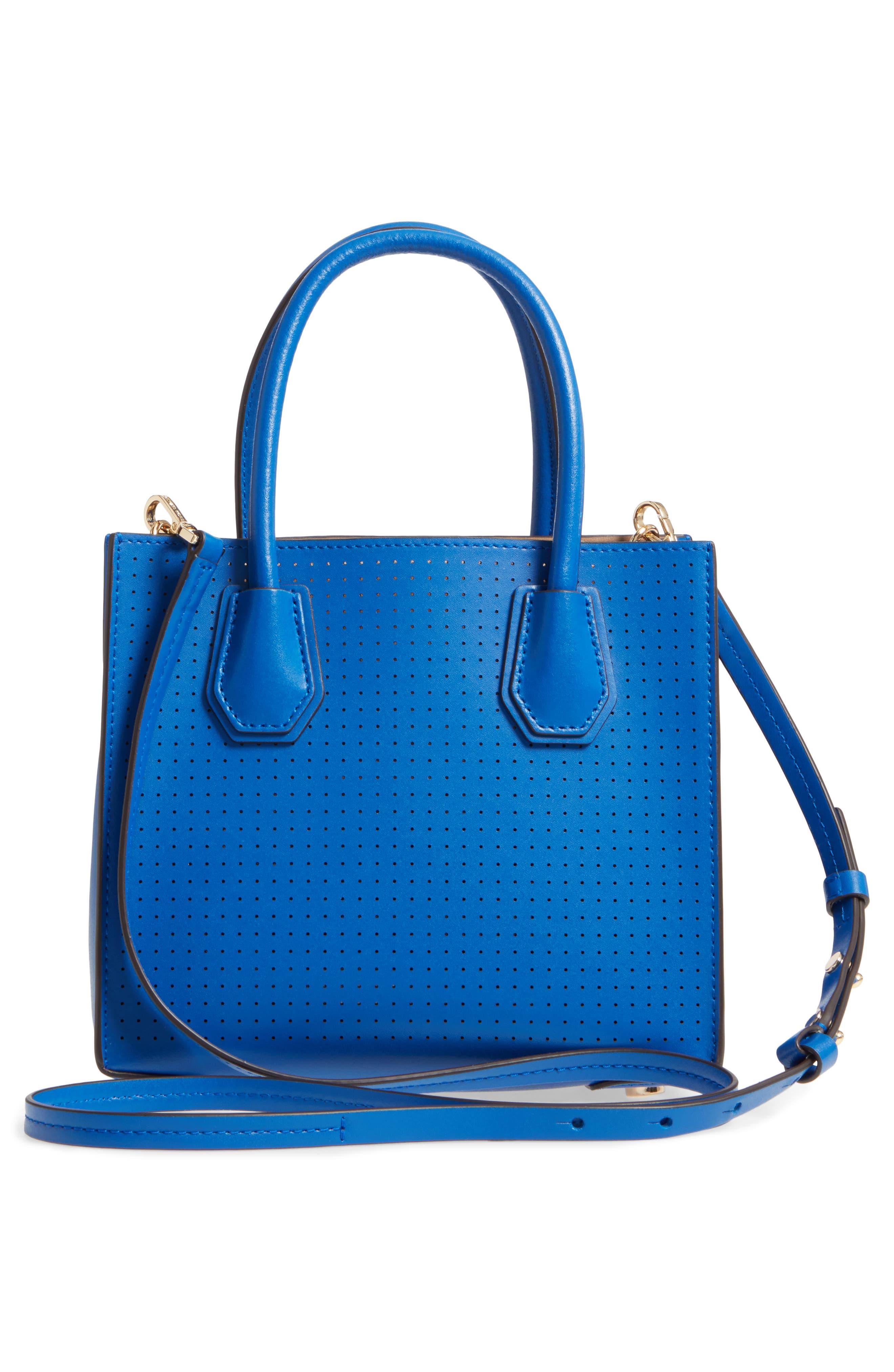 MICHAEL Michael Kors Medium Mercer Leather Crossbody Bag,                             Alternate thumbnail 3, color,                             Electric Blue