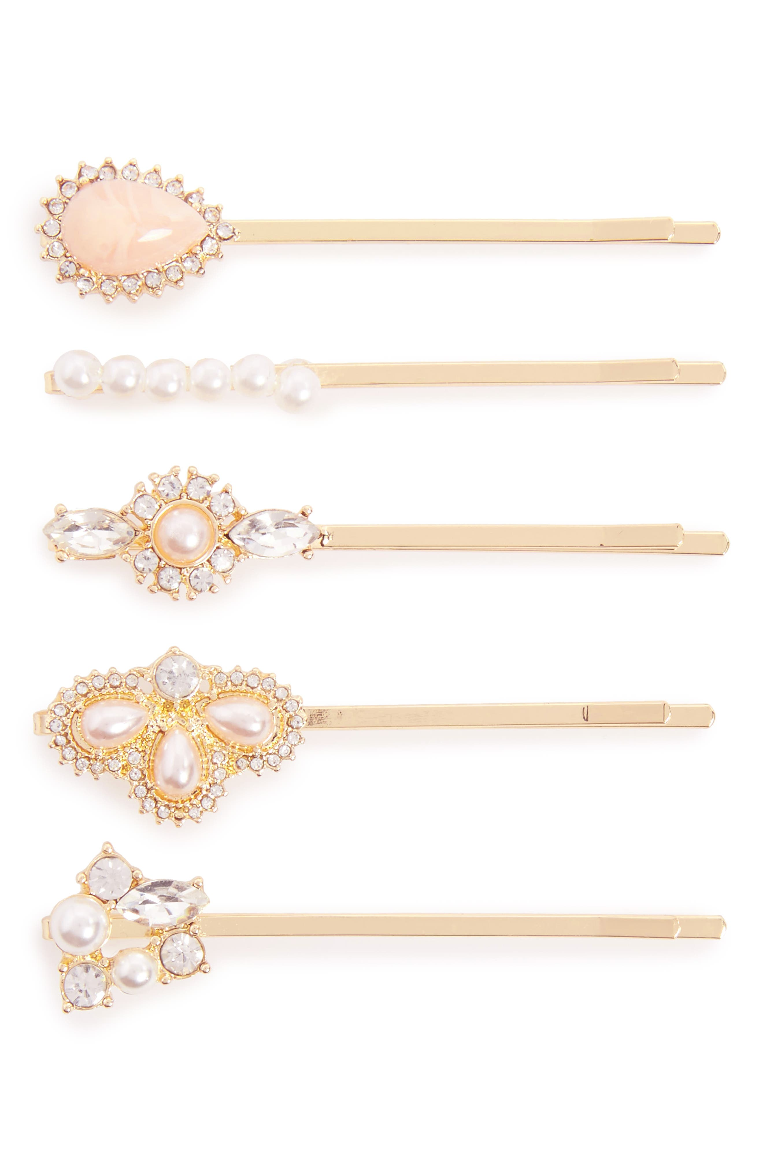 Berry 4-Pack Embellished Bobby Pins