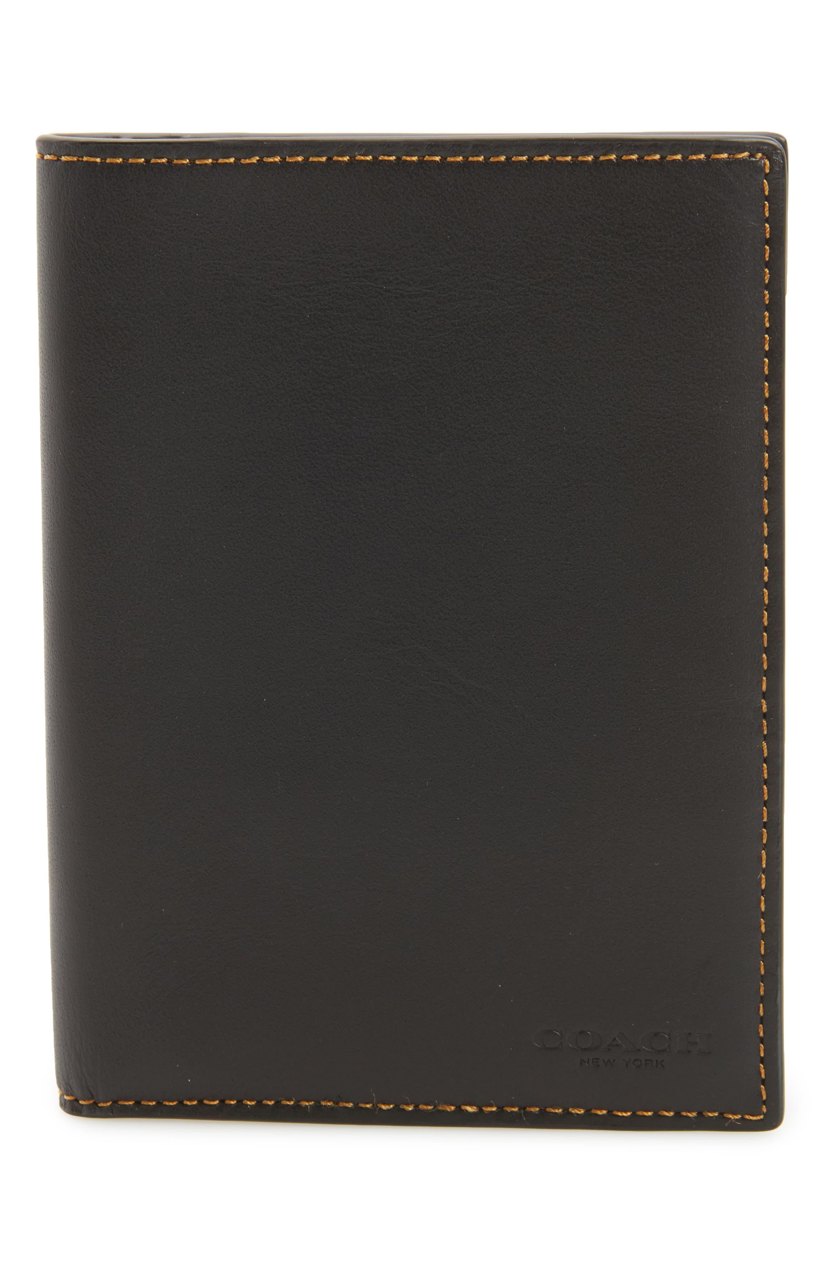 Leather Passport Case,                             Main thumbnail 1, color,                             Black