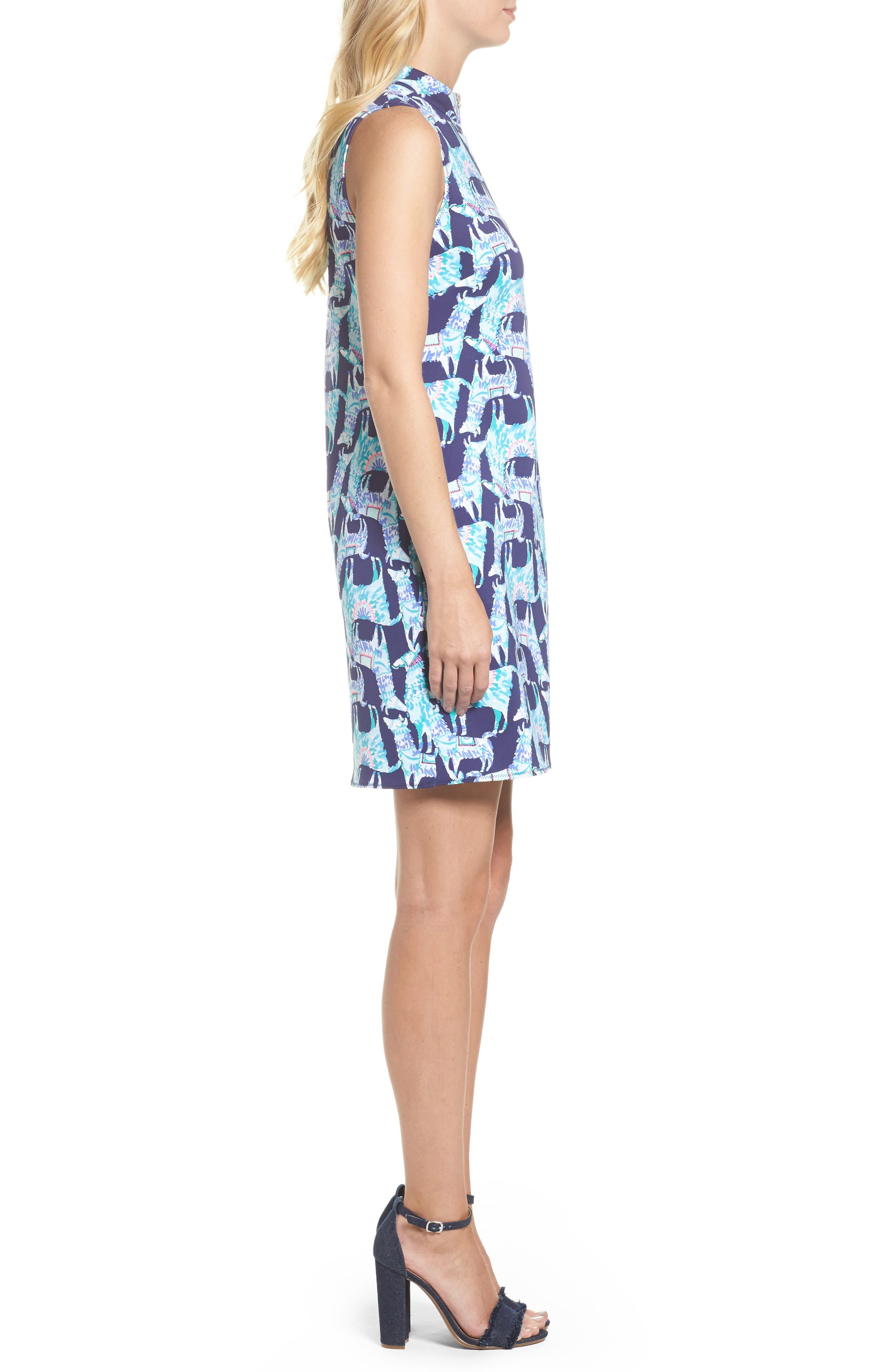 Opal Shift Dress,                             Alternate thumbnail 3, color,                             Bright Navy Alpaca My Bags