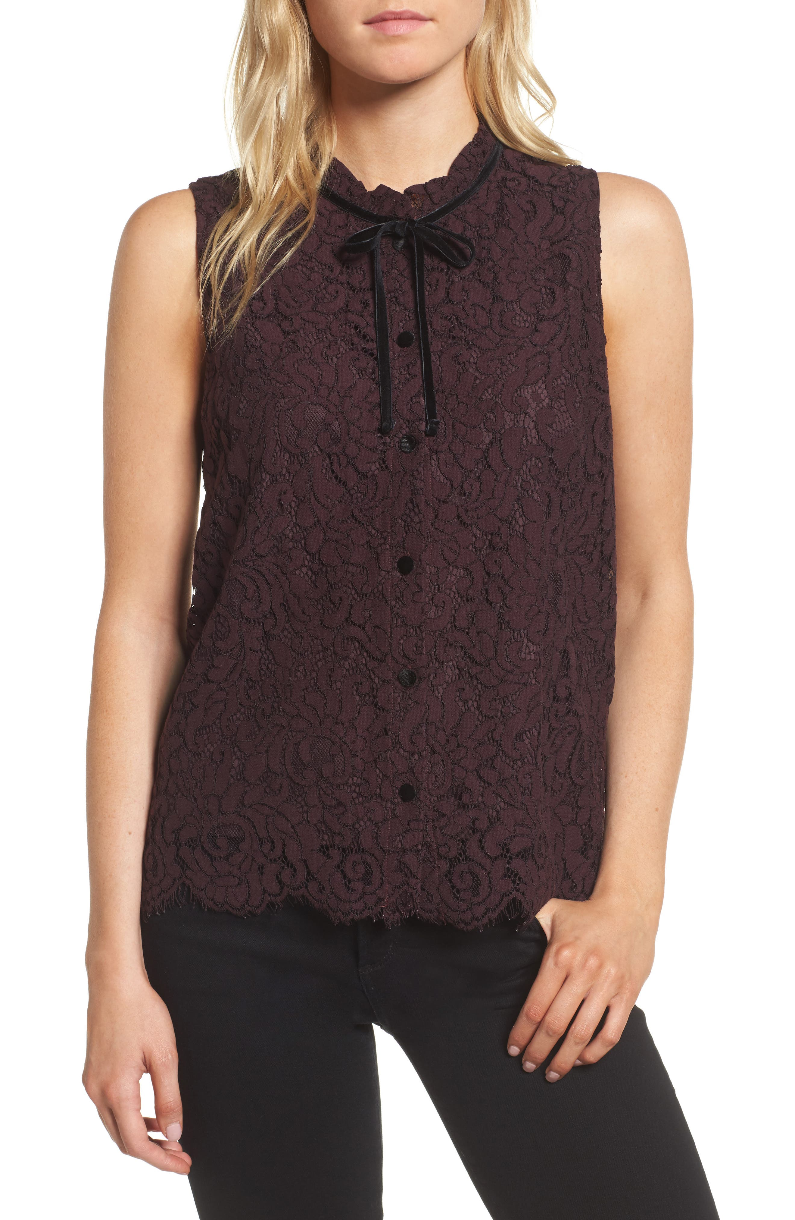Main Image - cupcakes and cashmere Isra Lace Top