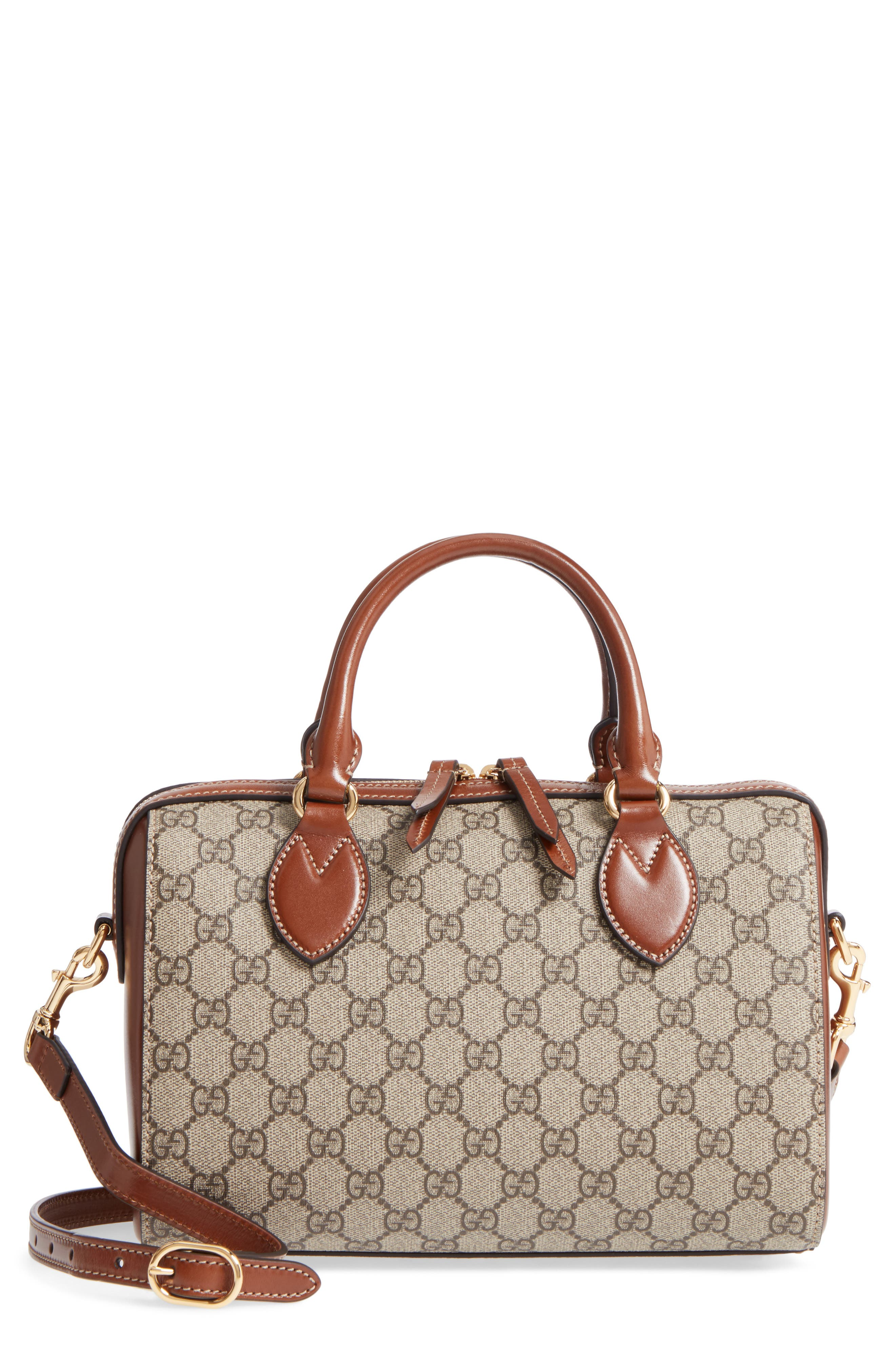 Linea Top Handle GG Supreme Canvas & Leather Bag,                         Main,                         color, Beige/ Ebony/ Cuir