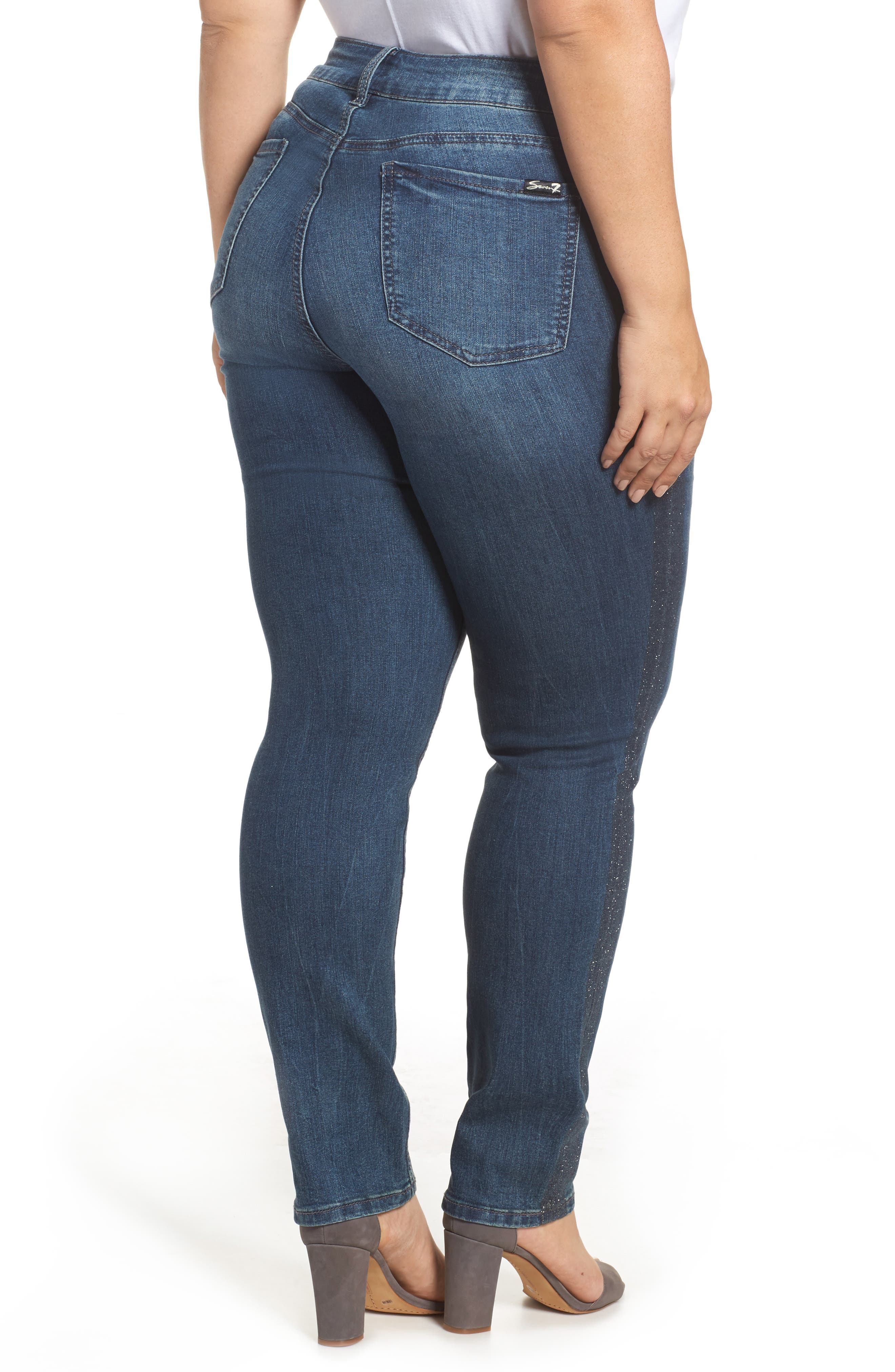 Alternate Image 2  - Seven7 Printed Foil Tuxedo Stripe Skinny Jeans (Locke) (Plus Size)