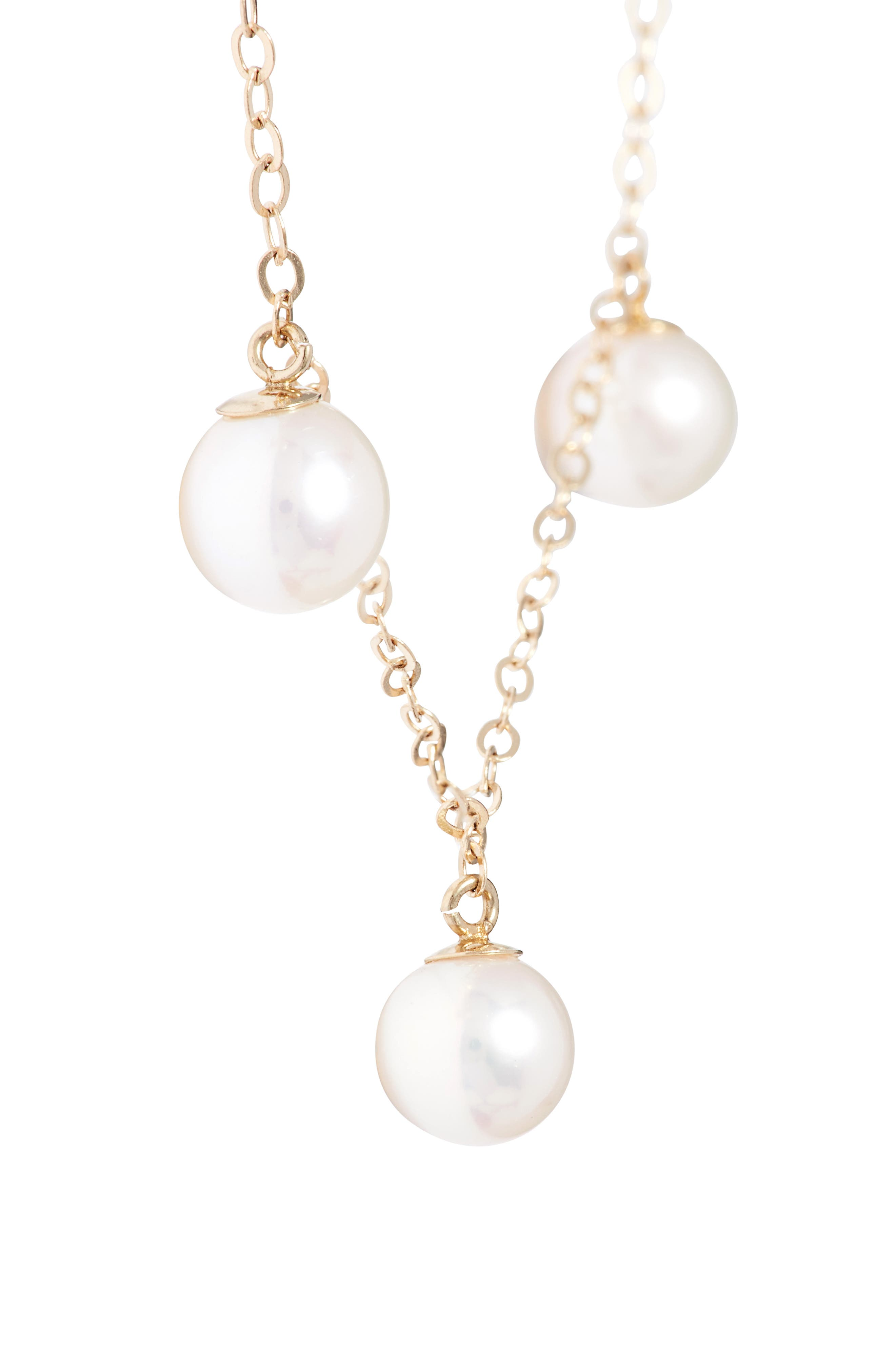 Pearl Collar Necklace,                             Alternate thumbnail 3, color,                             Yellow Gold/ Pearl