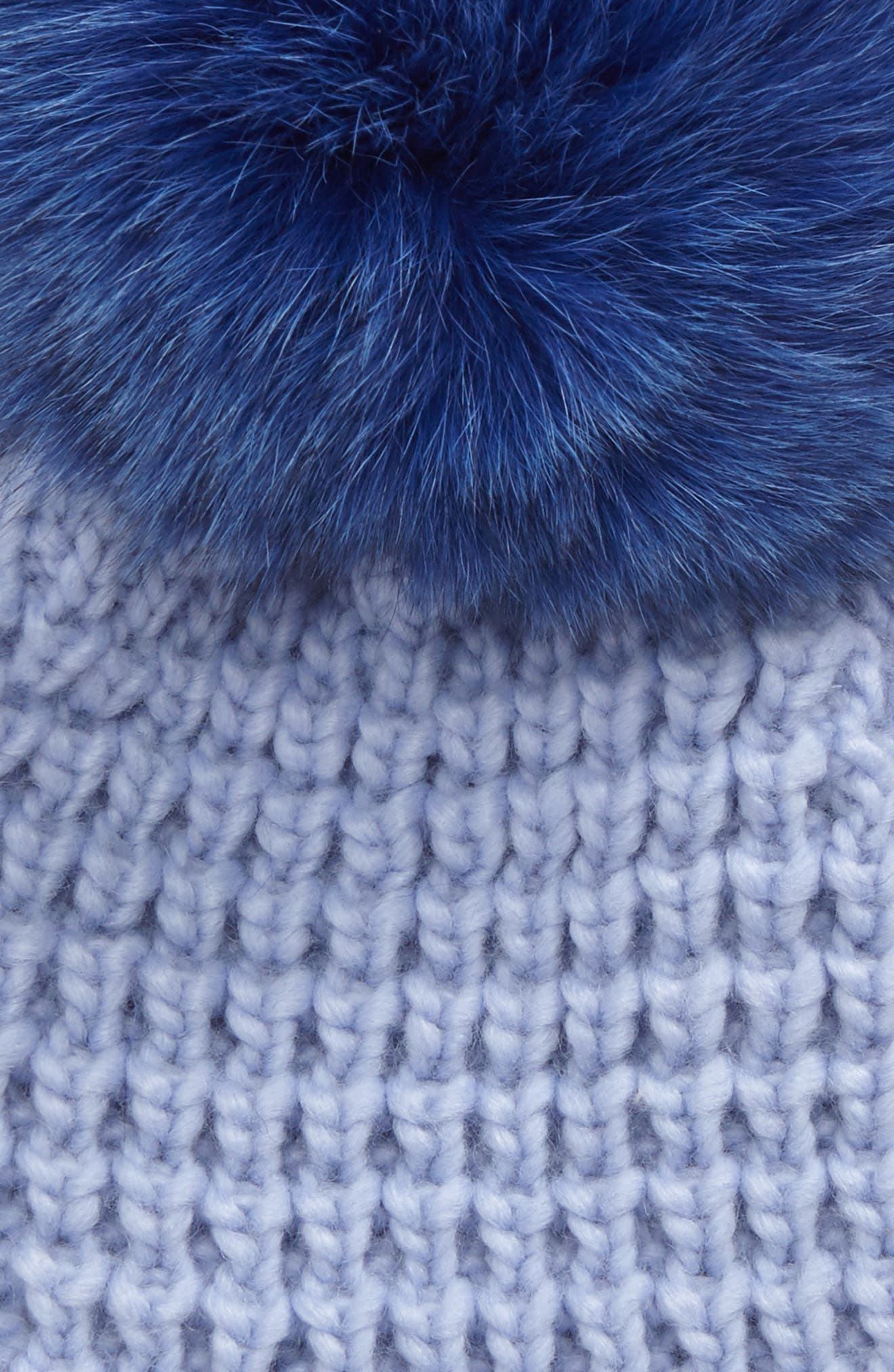 Genuine Fox Pompom Hat,                             Alternate thumbnail 2, color,                             Serenity/ Cobalt