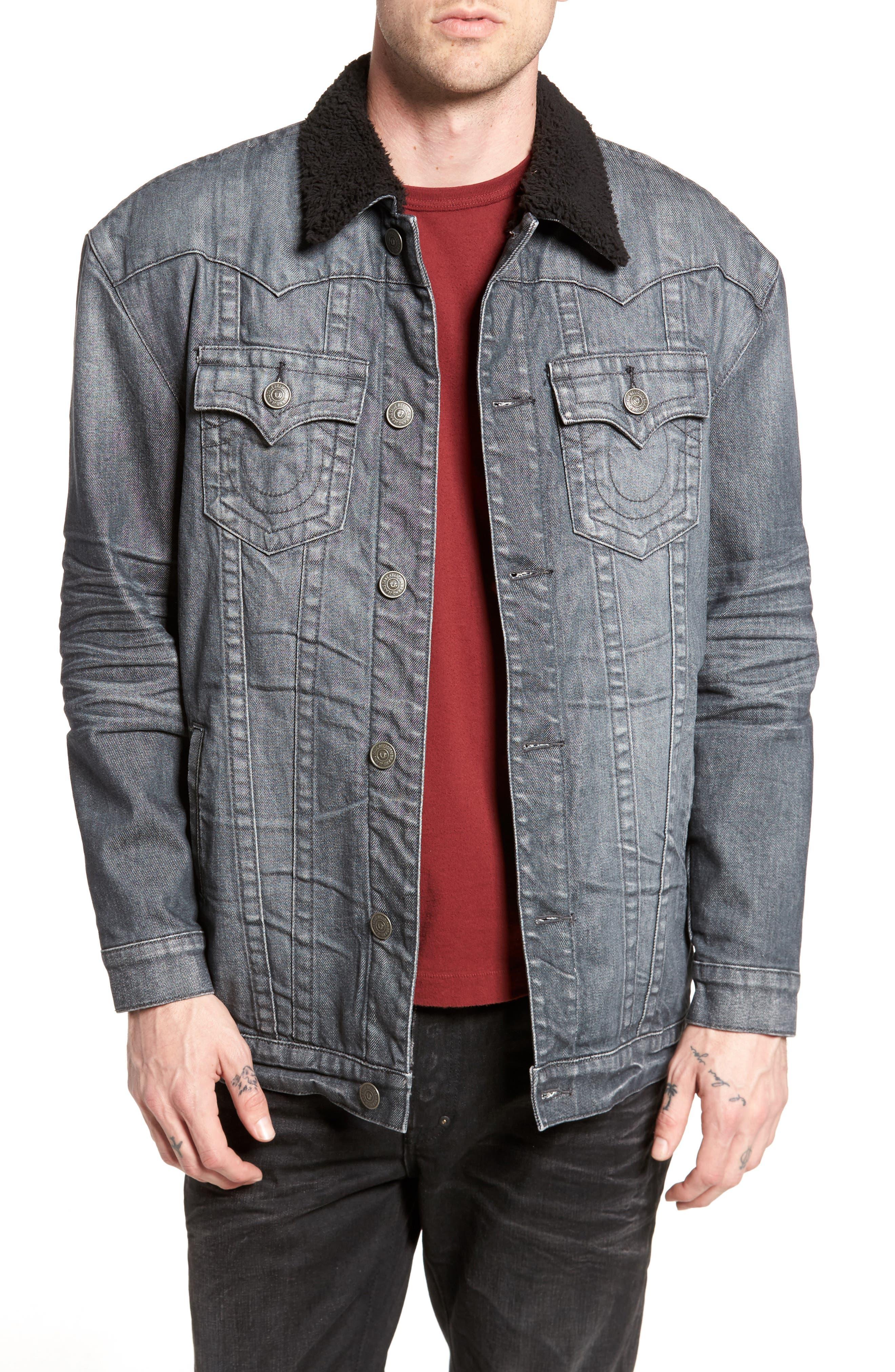 Faux Shearling Trim Denim Jacket,                         Main,                         color, Gravel