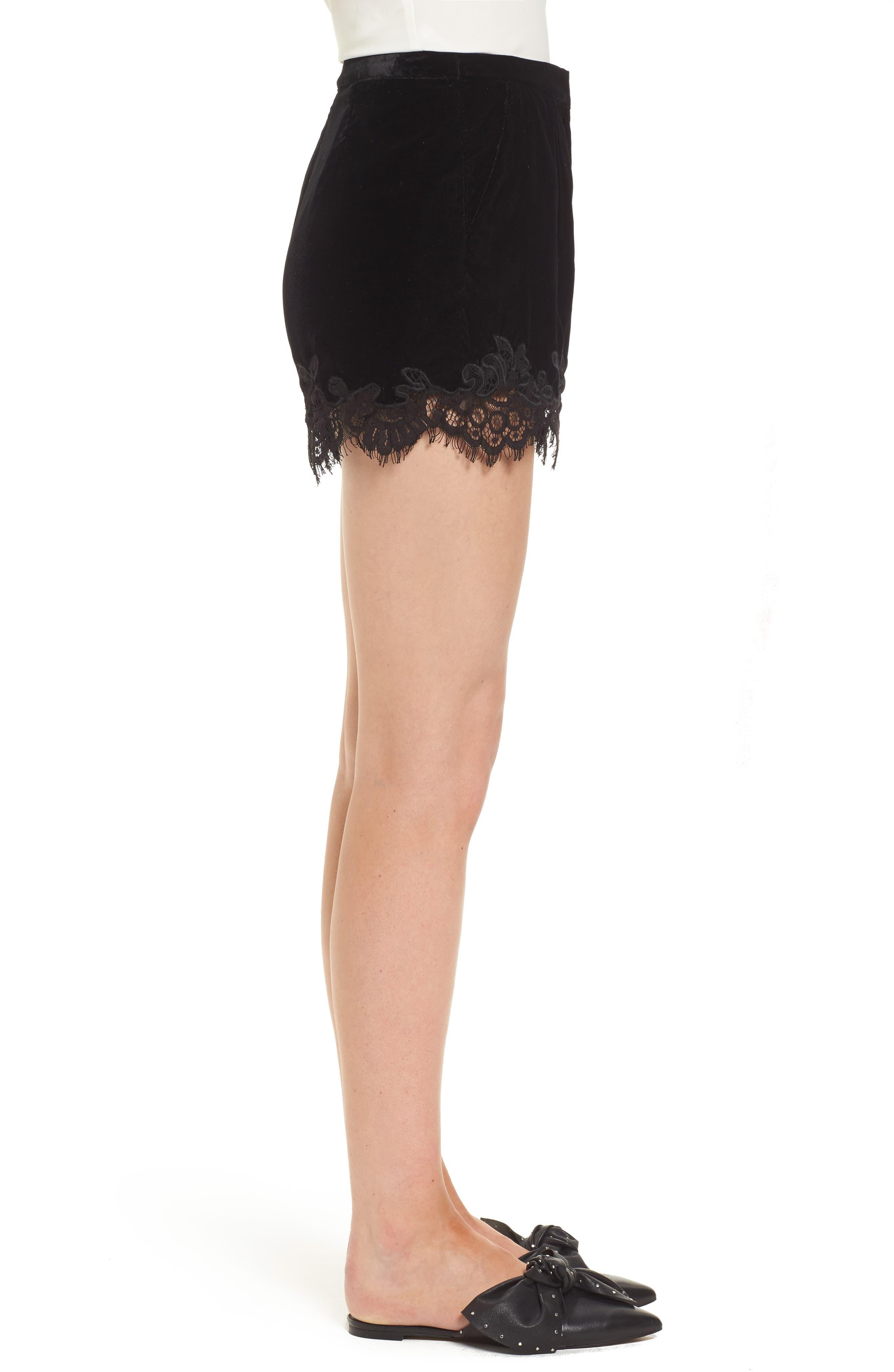 Amelia Lace & Velvet Shorts,                             Alternate thumbnail 3, color,                             Black