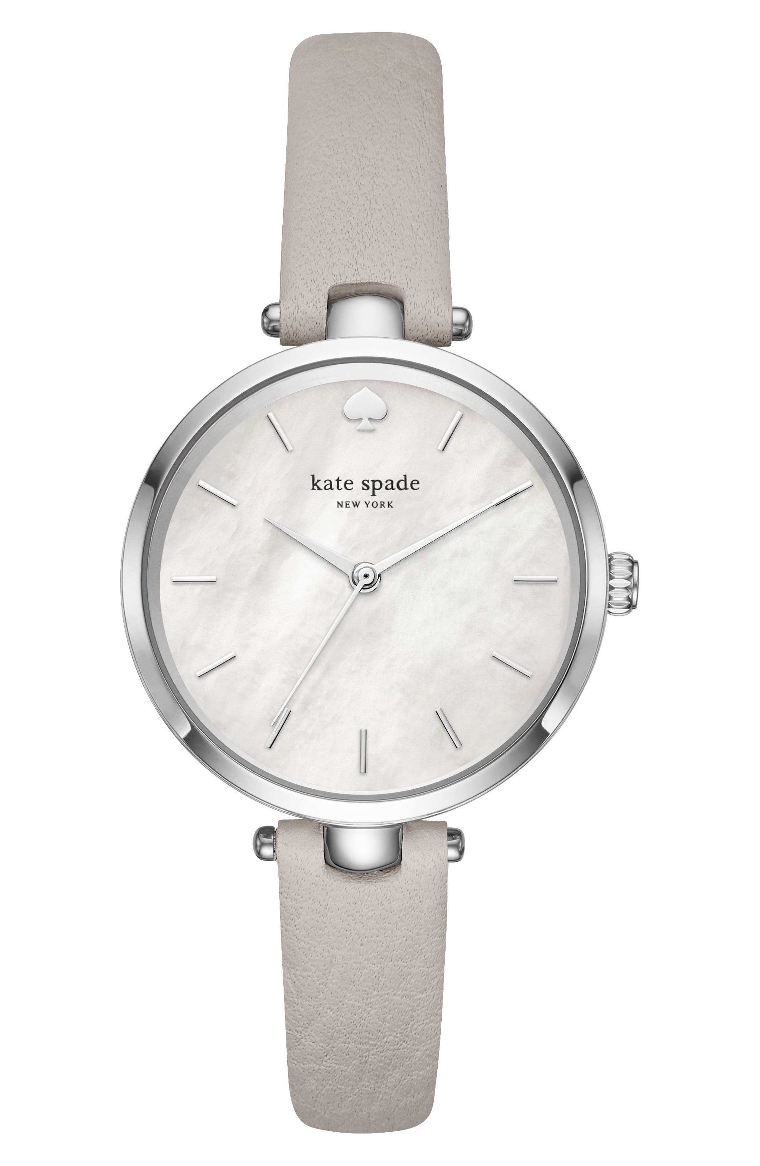 holland leather strap watch gift set, 34mm,                         Main,                         color, Grey/ White/ Silver