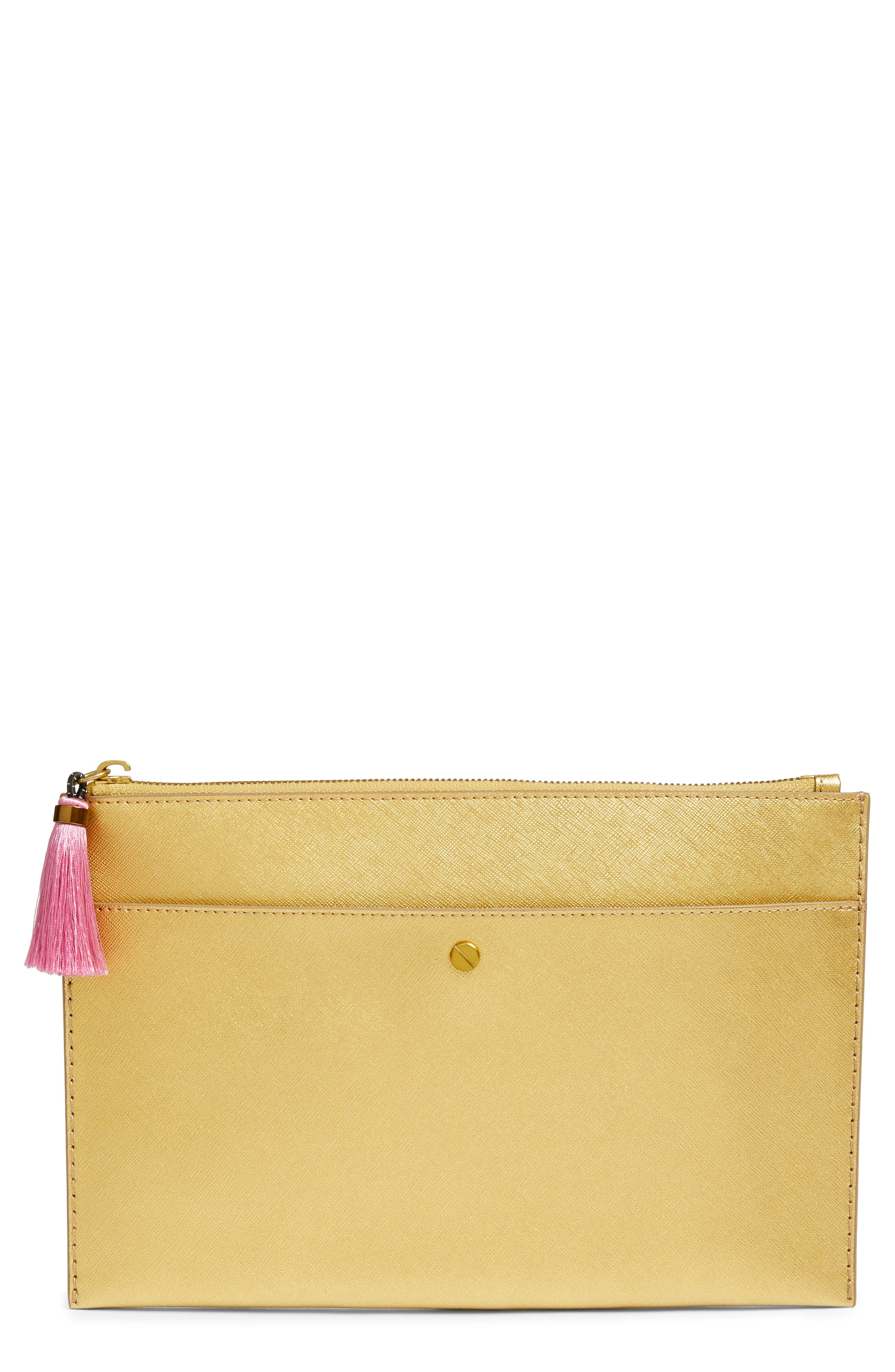 Main Image - J.Crew Large Saffiano Leather Pouch