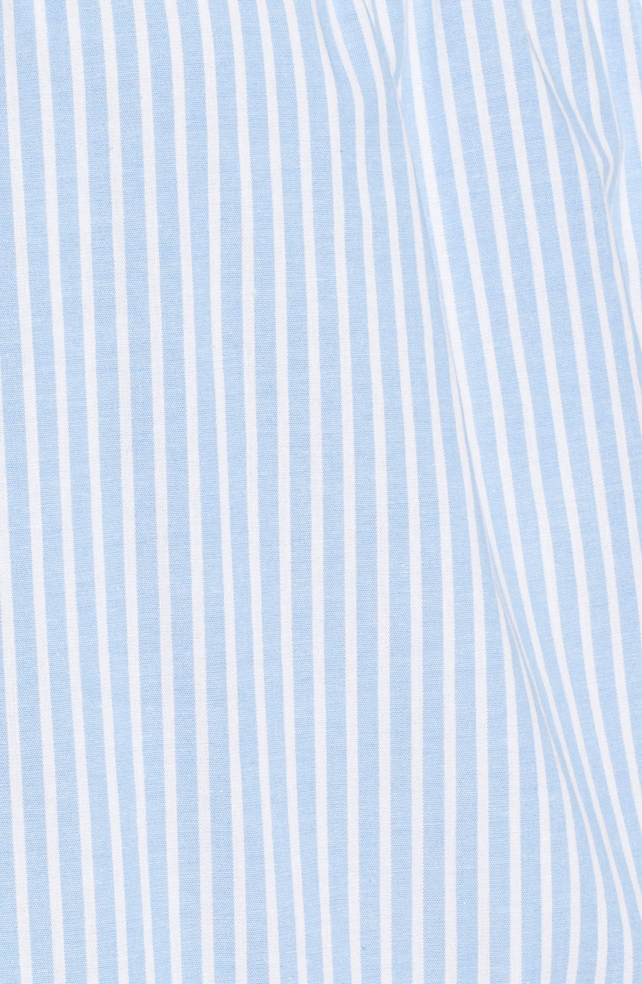 Ruffle Detail Mix Media High/Low Shirt,                             Alternate thumbnail 5, color,                             Blue- White Stripe