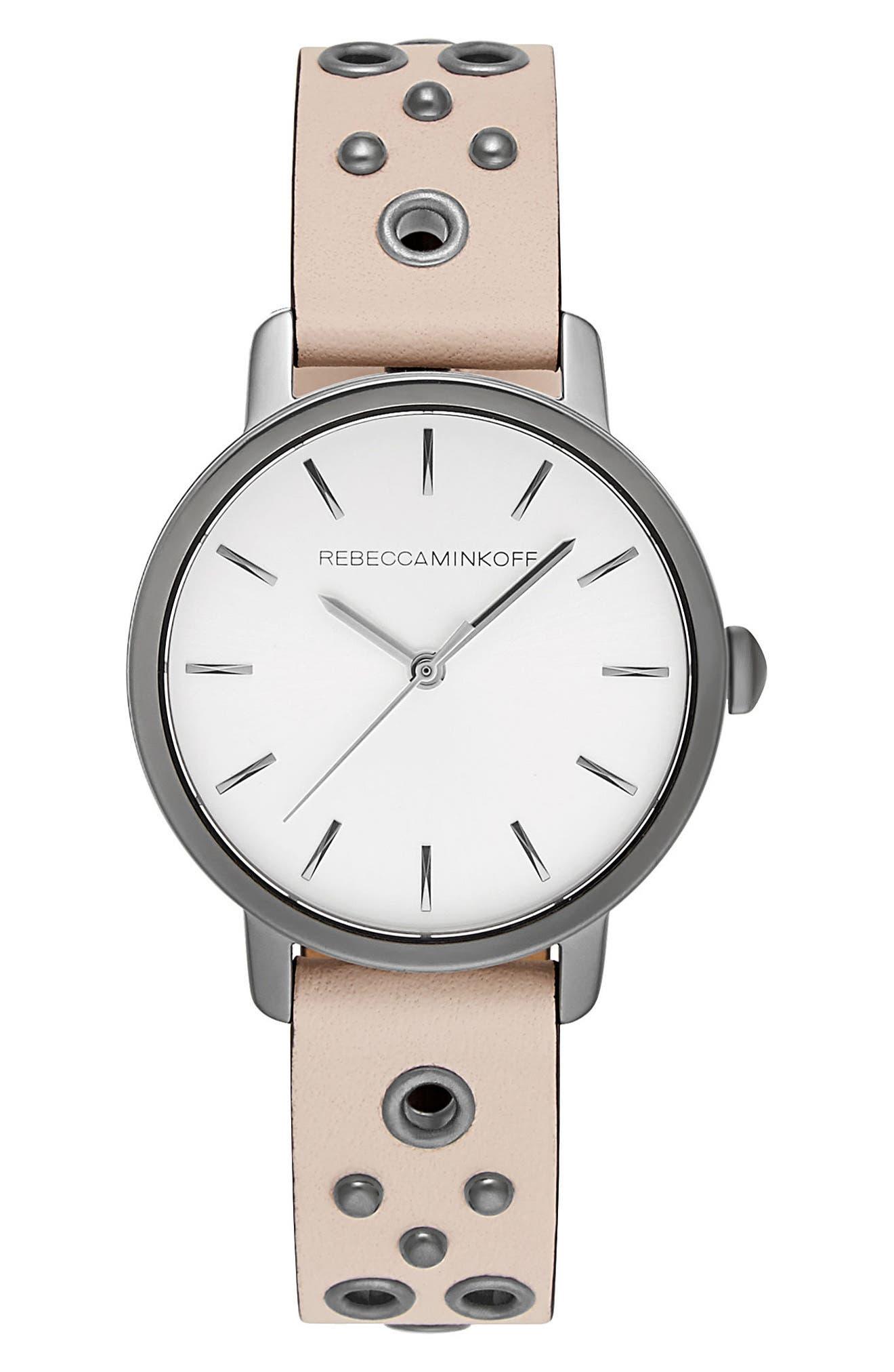 Main Image - Rebecca Minkoff BFFL Embellished Leather Strap Watch, 36mm