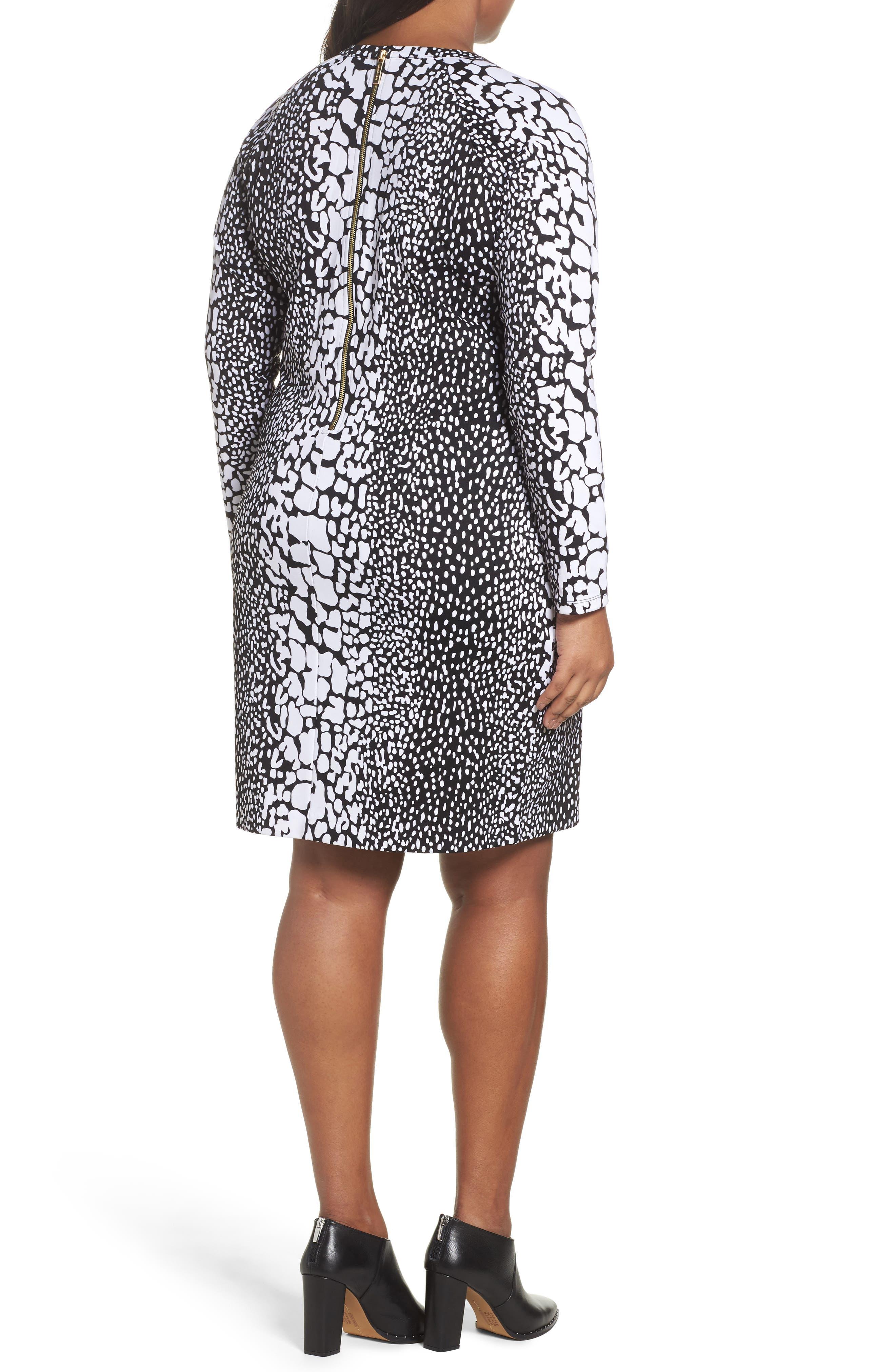 Croc Print Ponte Dress,                             Alternate thumbnail 2, color,                             Black/ White