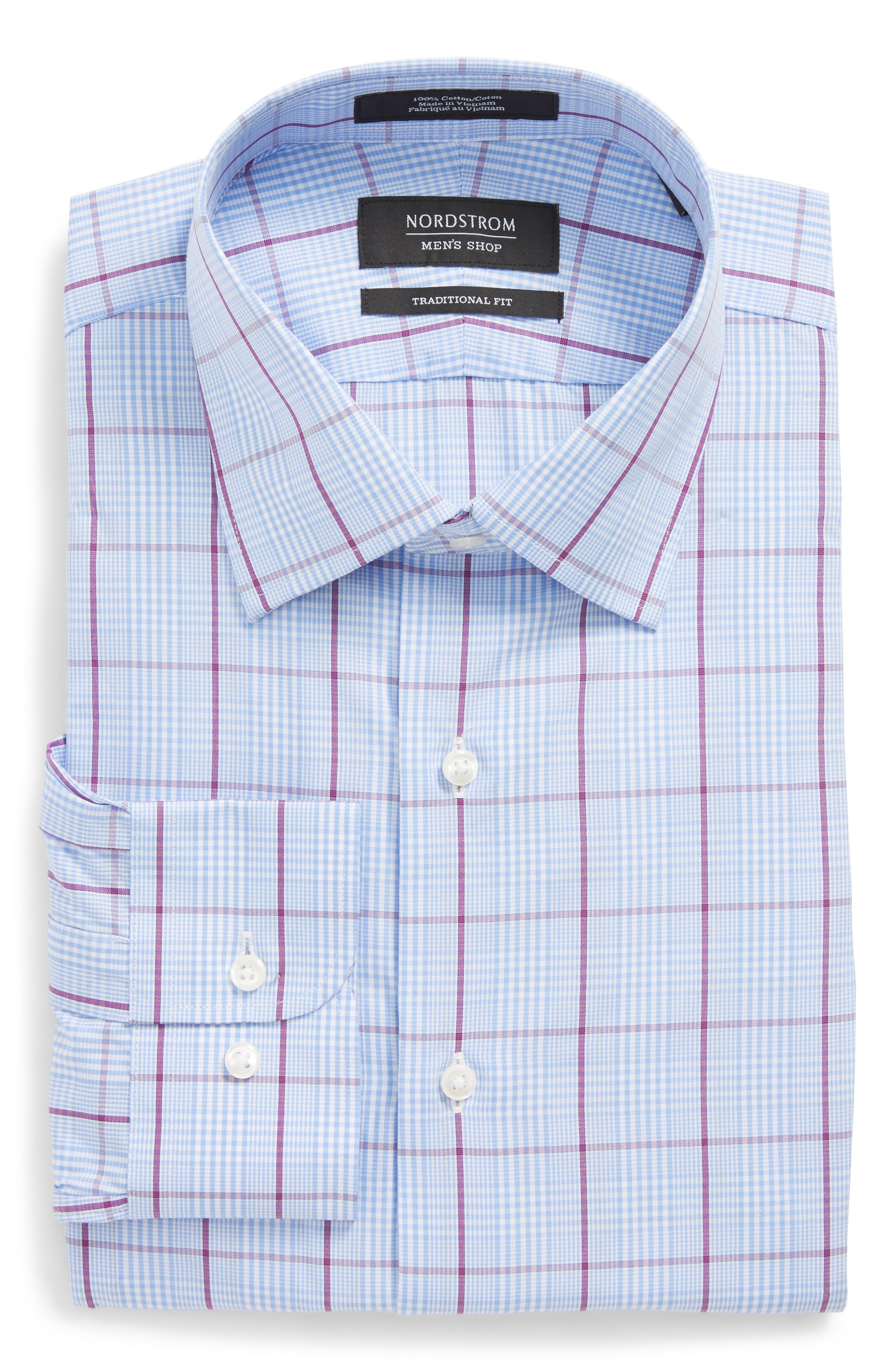 Traditional Fit Plaid Dress Shirt,                             Alternate thumbnail 6, color,                             Purple Sparkle