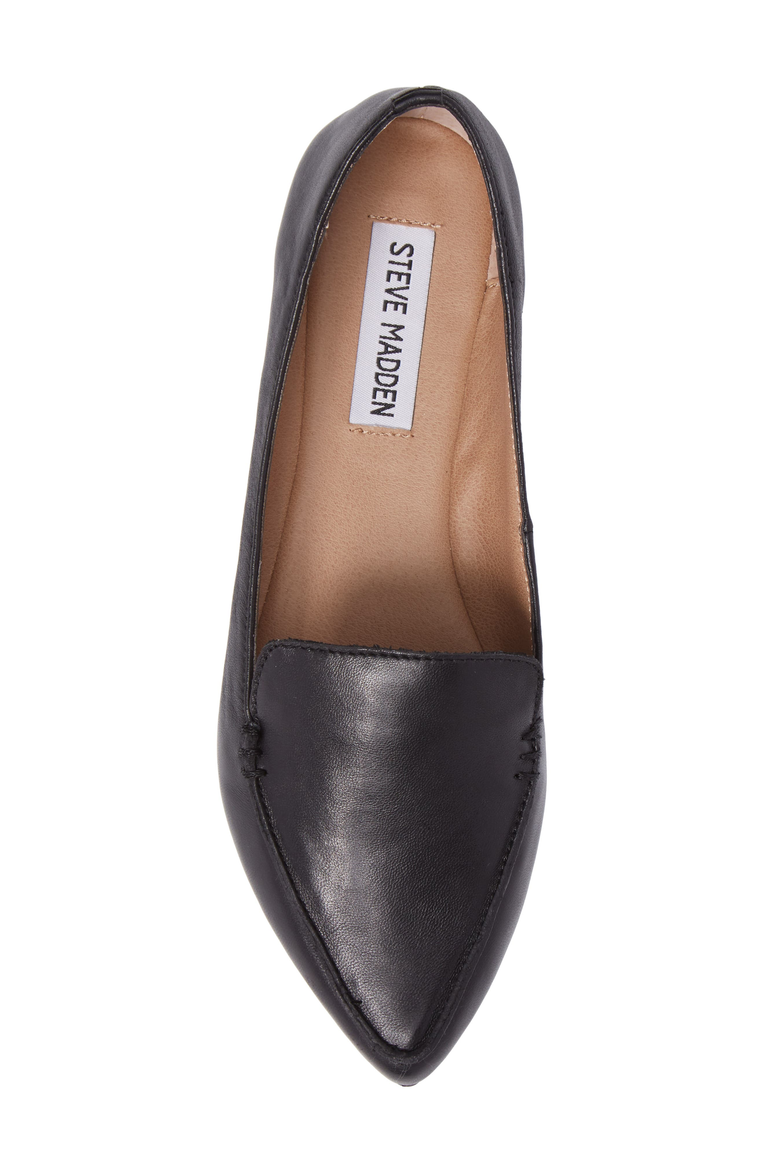 Feather Loafer Flat,                             Alternate thumbnail 5, color,                             Black Leather