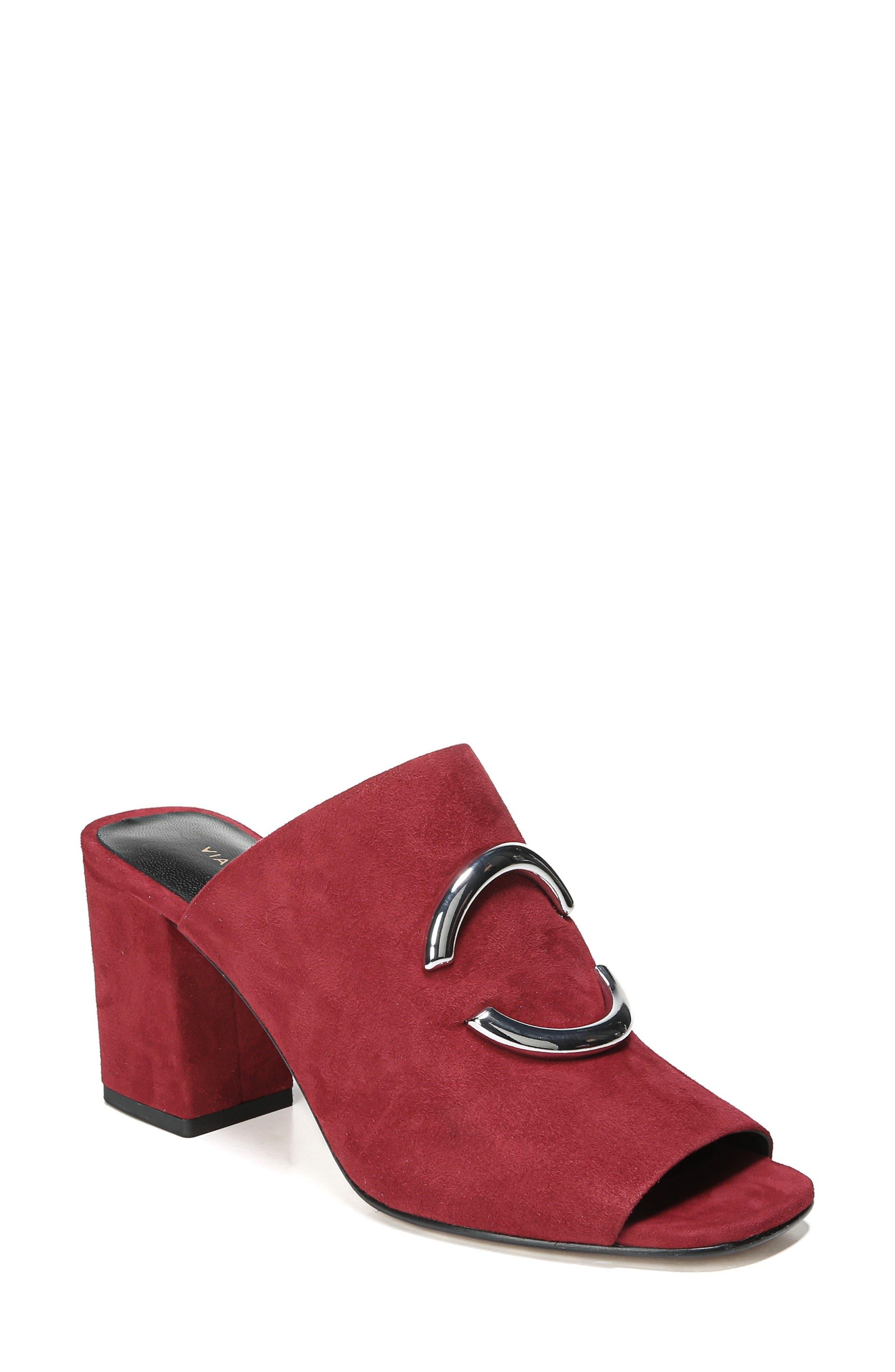 Eleni Slide Sandal,                         Main,                         color, Ruby Suede