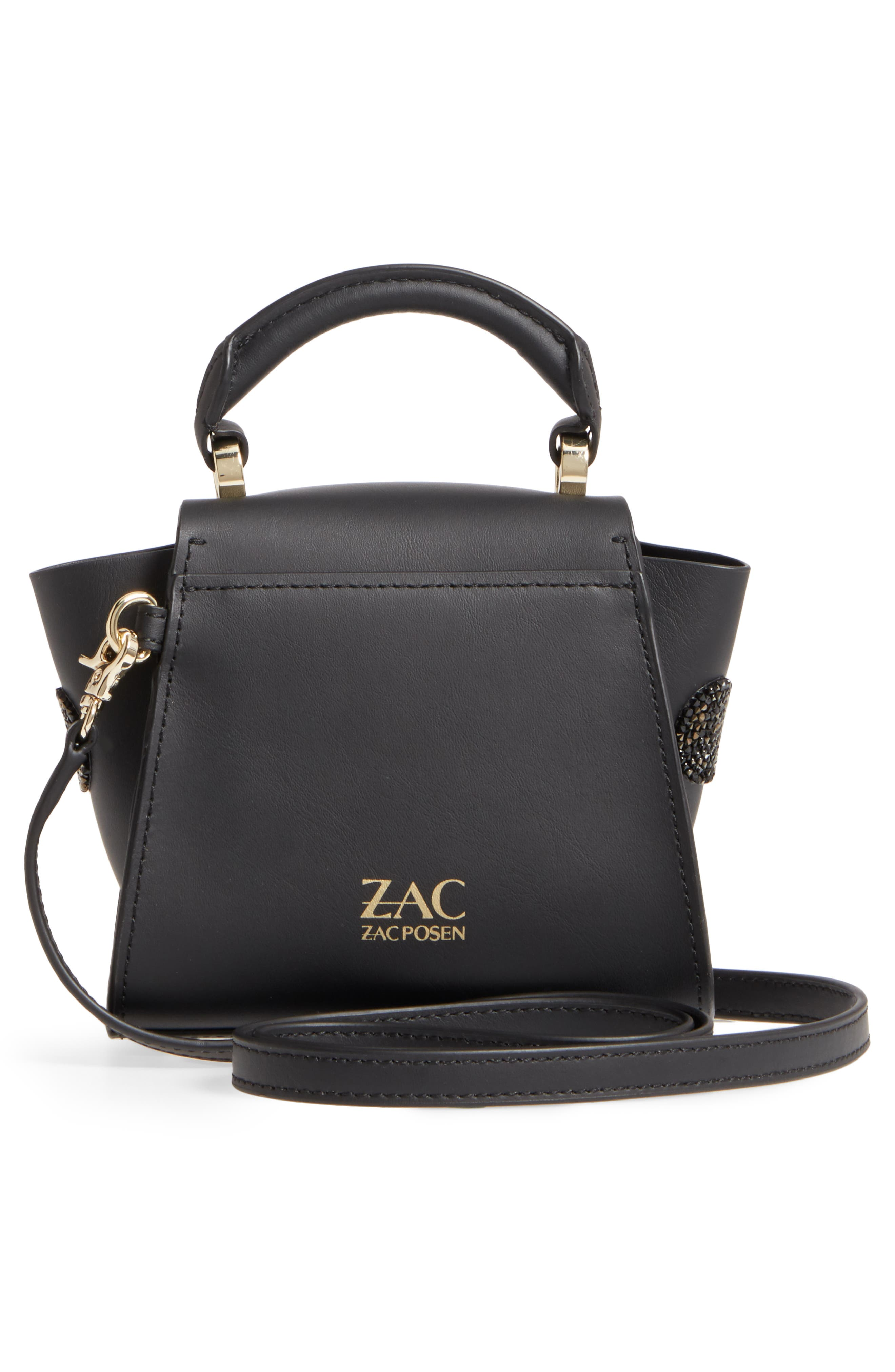 Mini Eartha Iconic Calfskin Leather Top Handle Satchel,                             Alternate thumbnail 3, color,                             Black