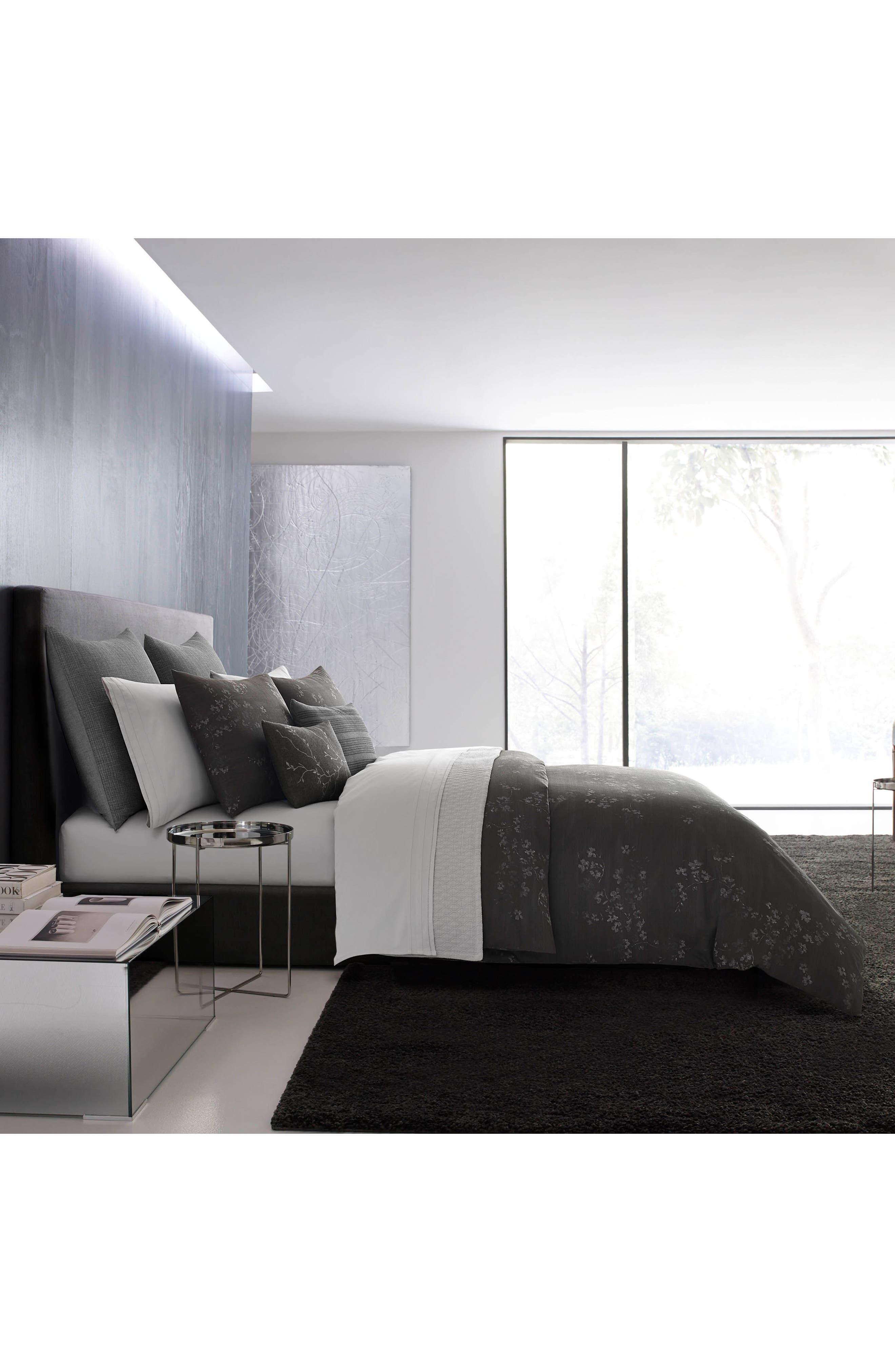 Charcoal Floral Vine Accent Pillow,                             Alternate thumbnail 3, color,                             Dark Gray