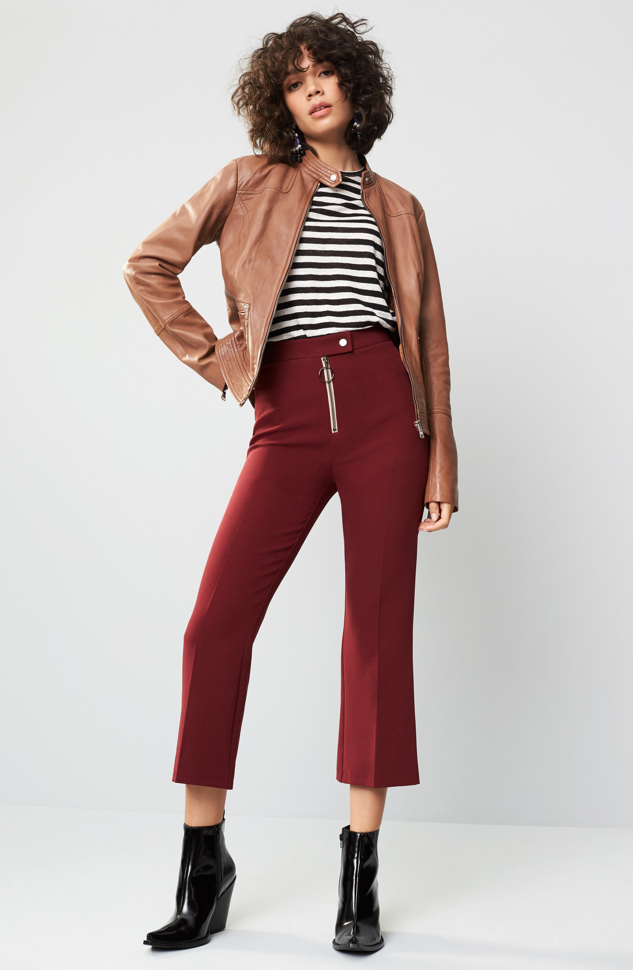Alternate Image 2  - Topshop Exposed Zip Kick Flare Pants