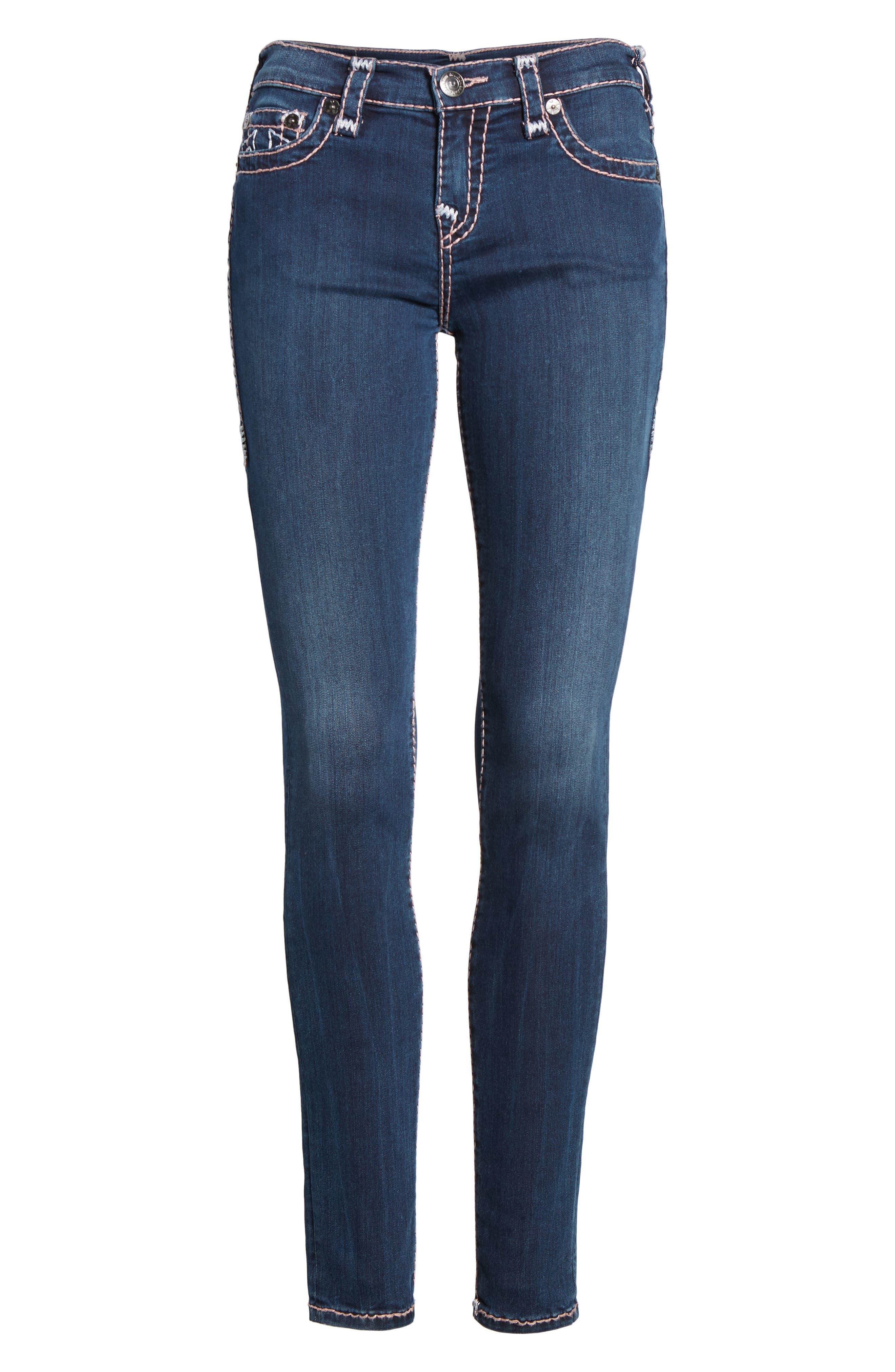 Halle Super Skinny Jeans,                             Alternate thumbnail 7, color,                             Deep Sea Blue