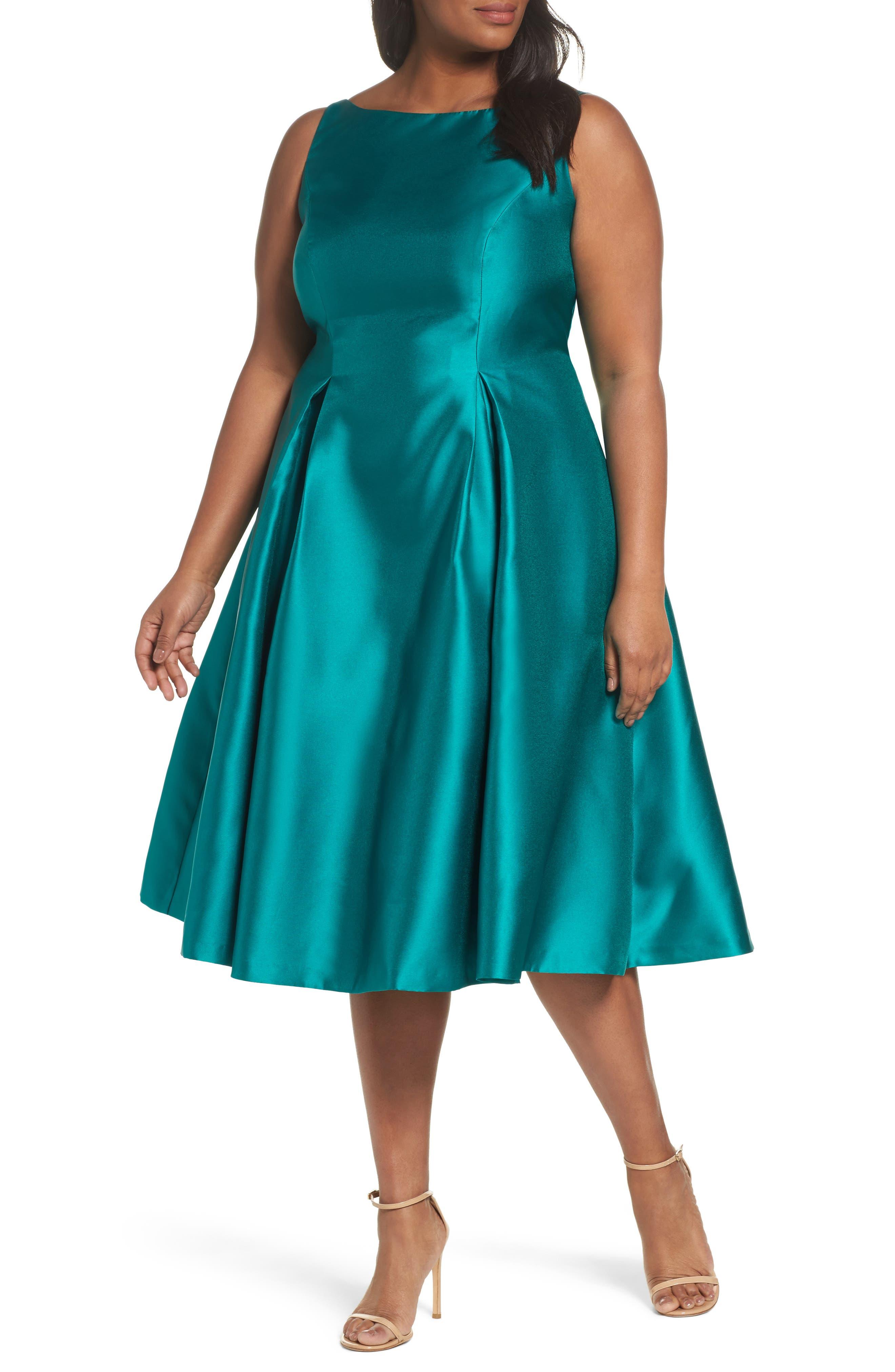 Main Image - Adrianna Papell Sleeveless Mikado Fit & Flare Midi Dress (Plus Size)