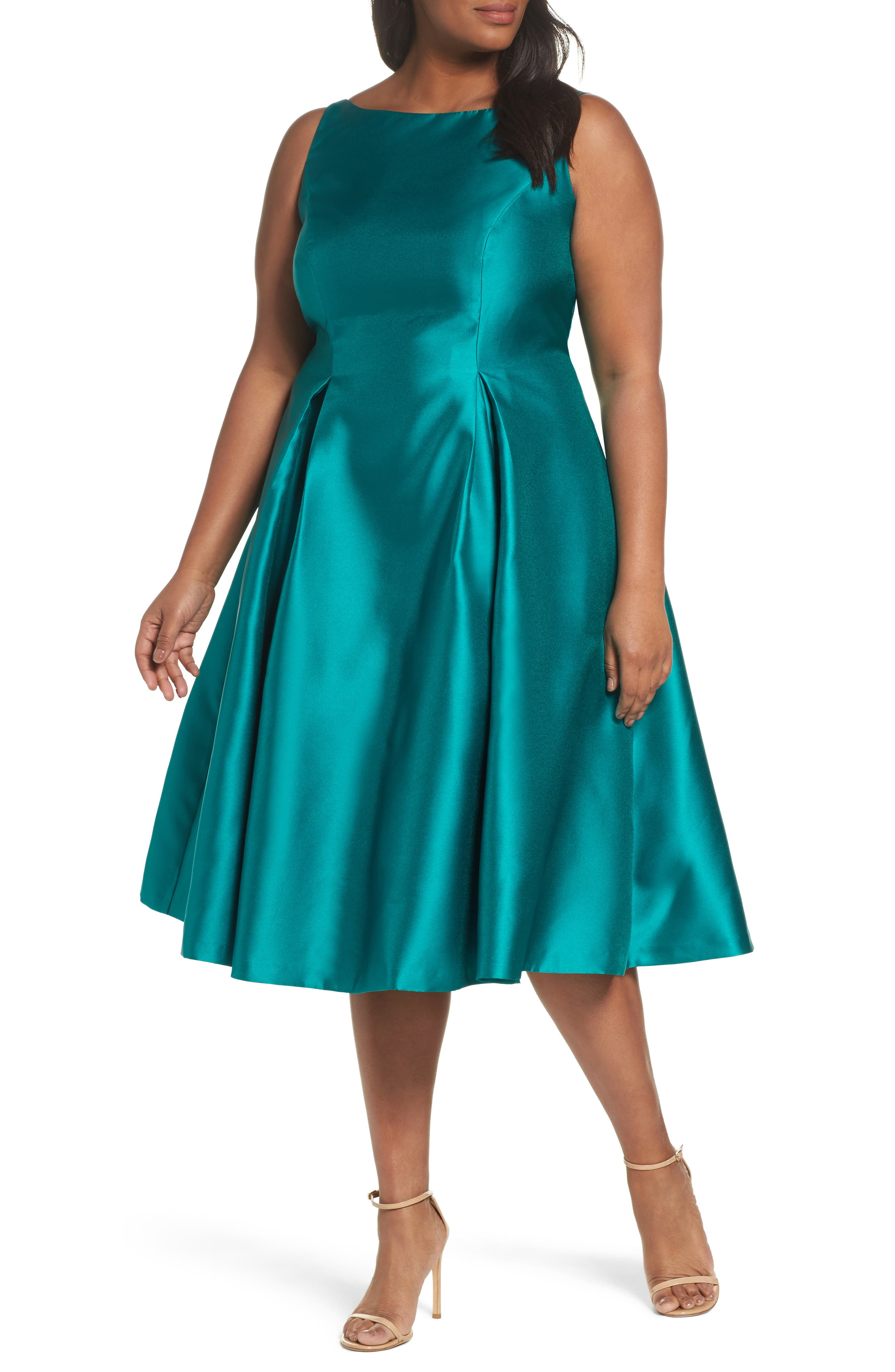 Sleeveless Mikado Fit & Flare Midi Dress,                         Main,                         color, Vivid Malachite