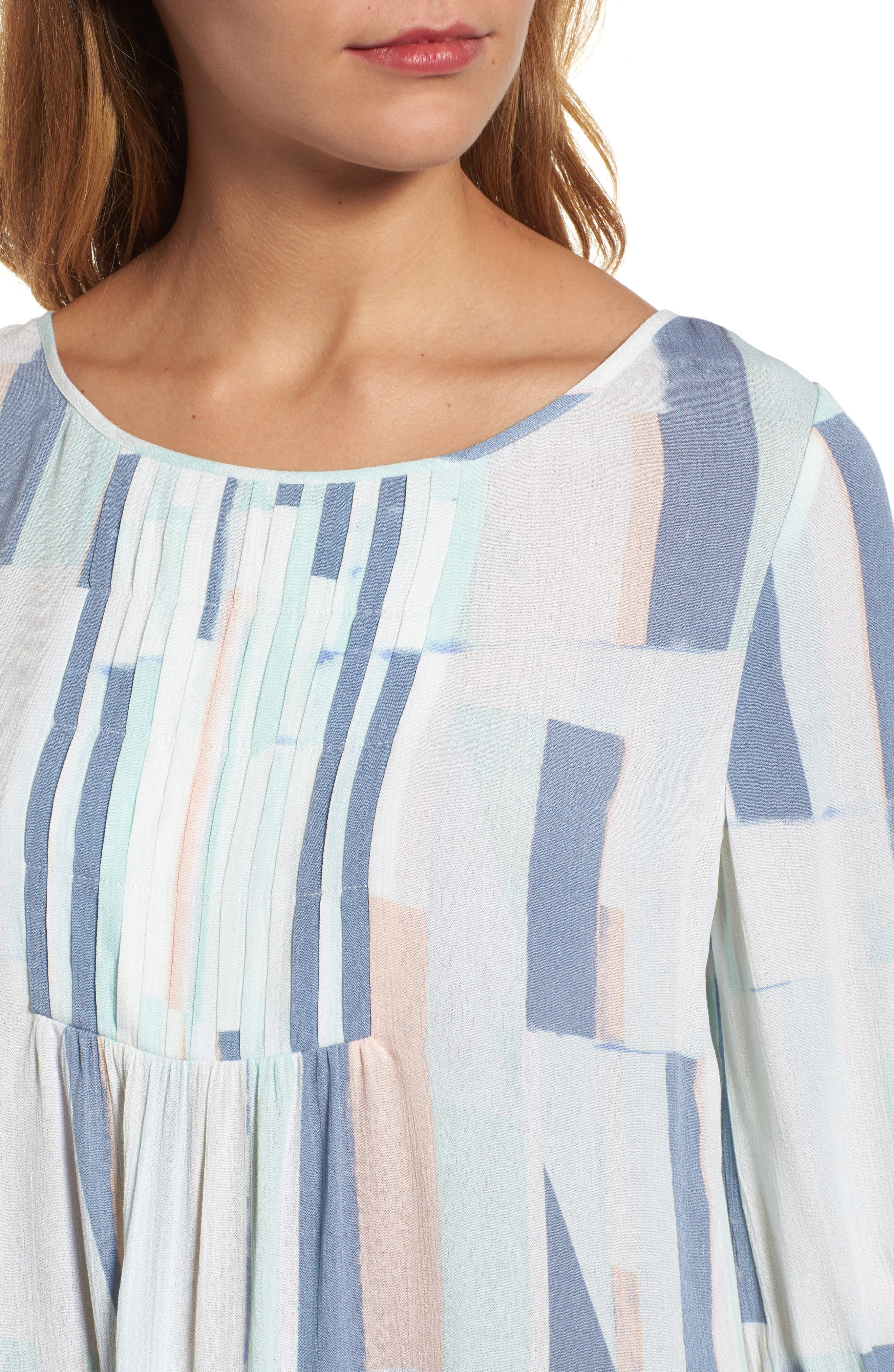 Printed Tie Sleeve Blouse,                             Alternate thumbnail 4, color,                             Teal- White Geo