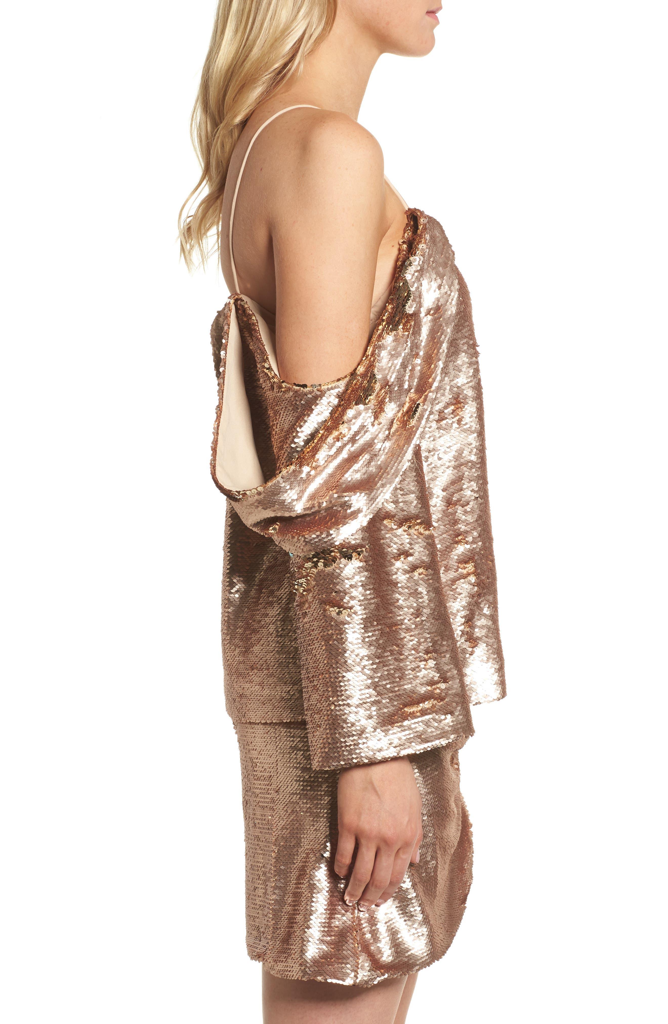 Revolution Off the Shoulder Sequin Top,                             Alternate thumbnail 3, color,                             Champagne Blush