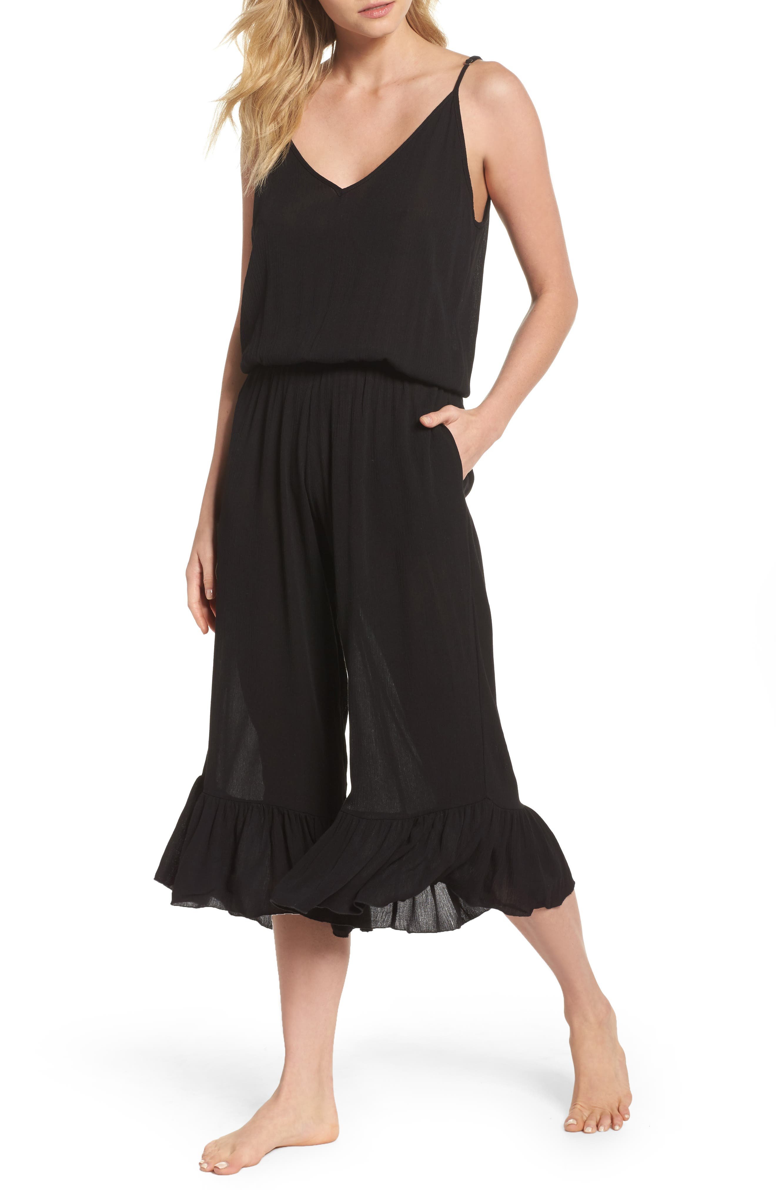 Culotte Cover-Up Jumpsuit,                             Main thumbnail 1, color,                             Black