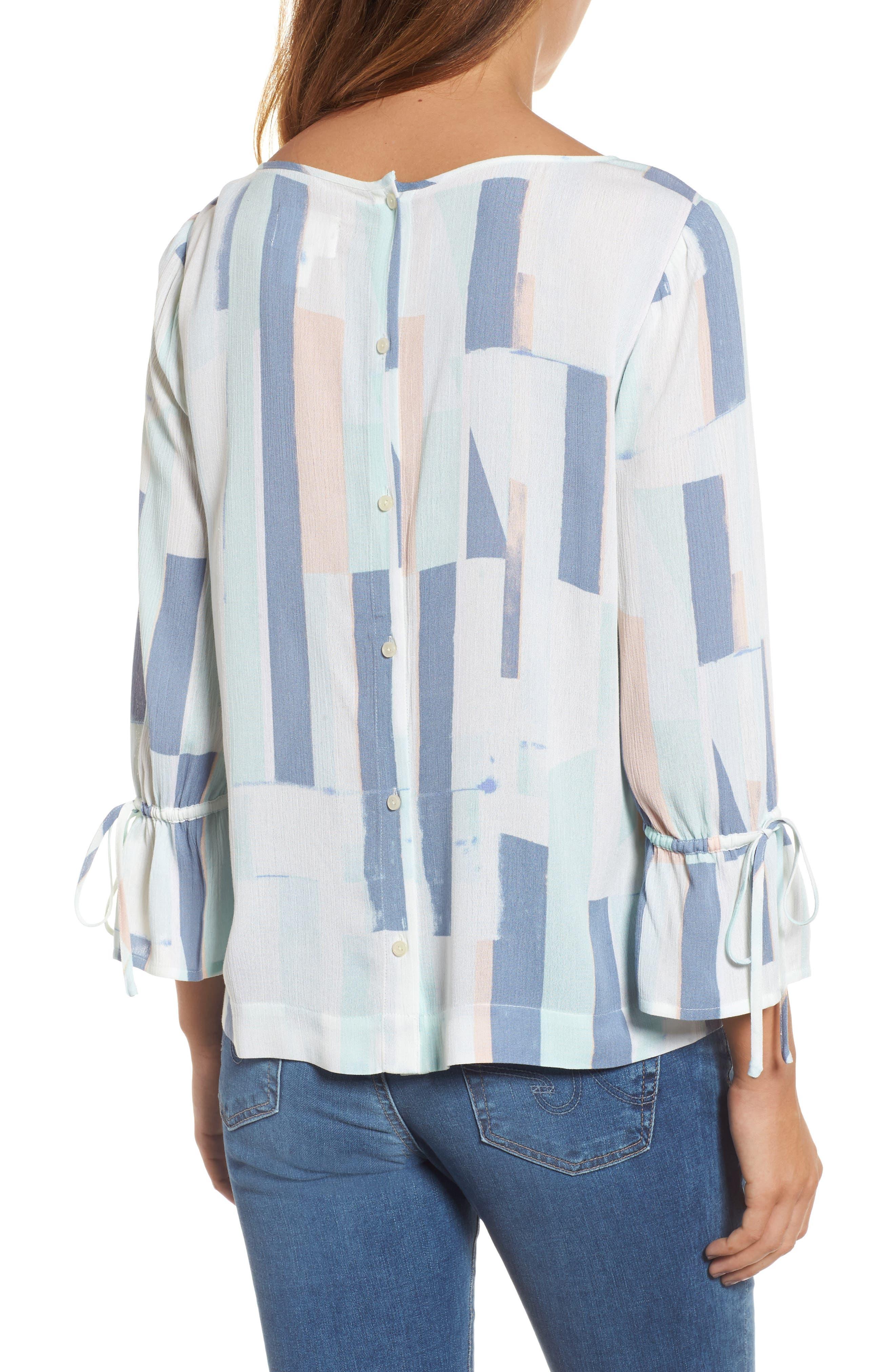 Printed Tie Sleeve Blouse,                             Alternate thumbnail 2, color,                             Teal- White Geo