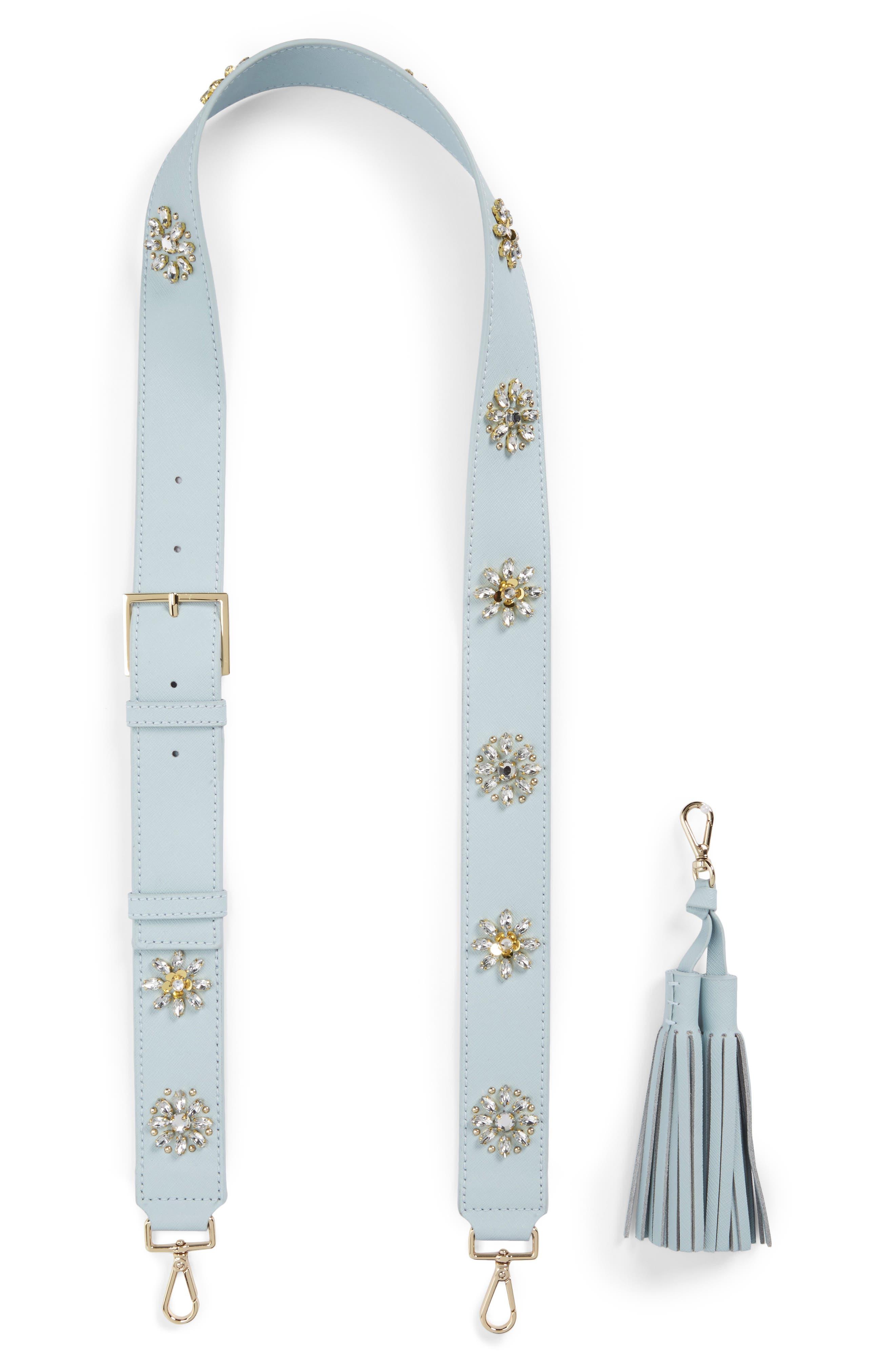 kate spade new york make it mine crystal flowers leather guitar bag strap & tassel