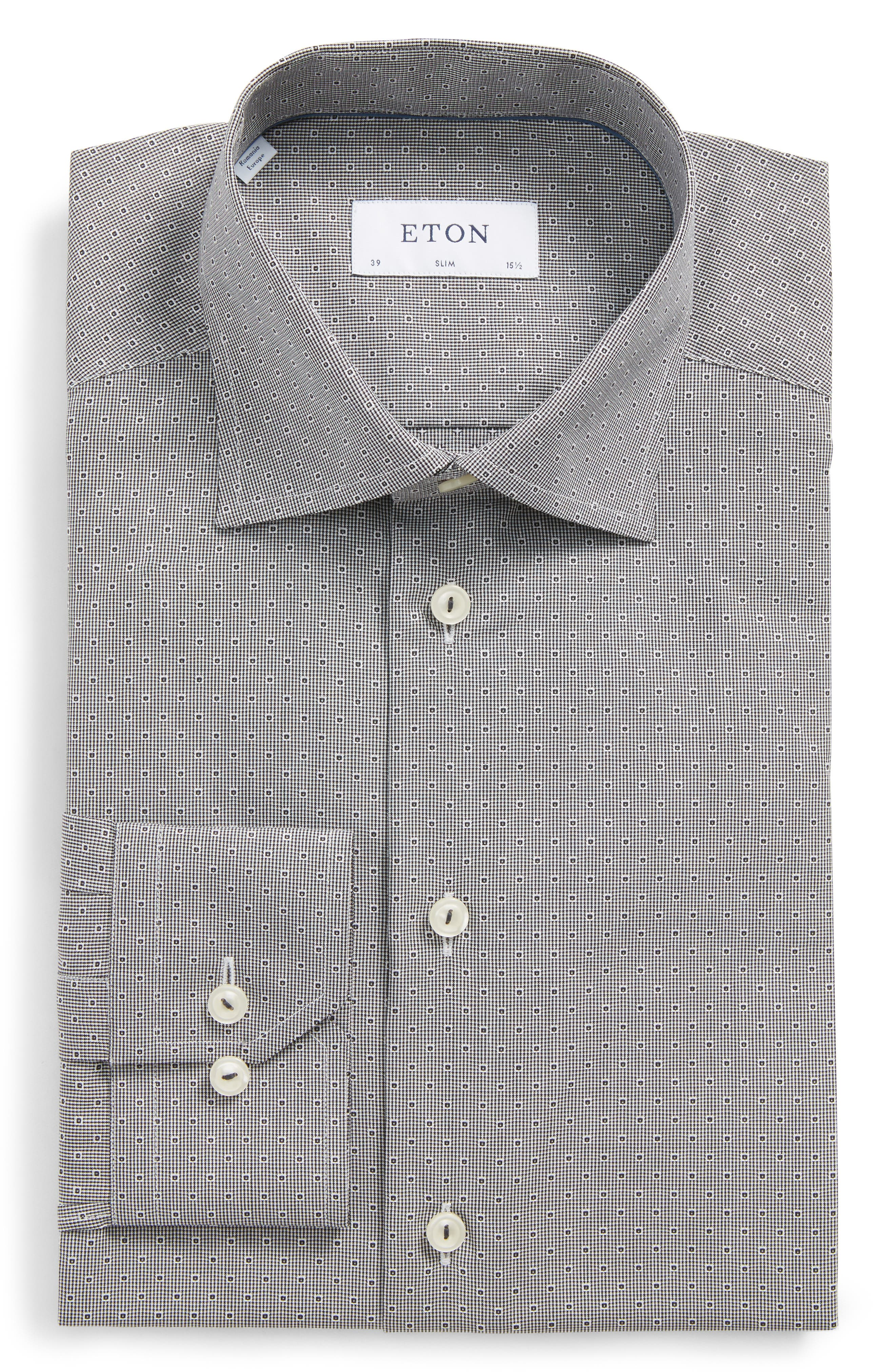 Eton Slim Fit Geometric Dress Shirt