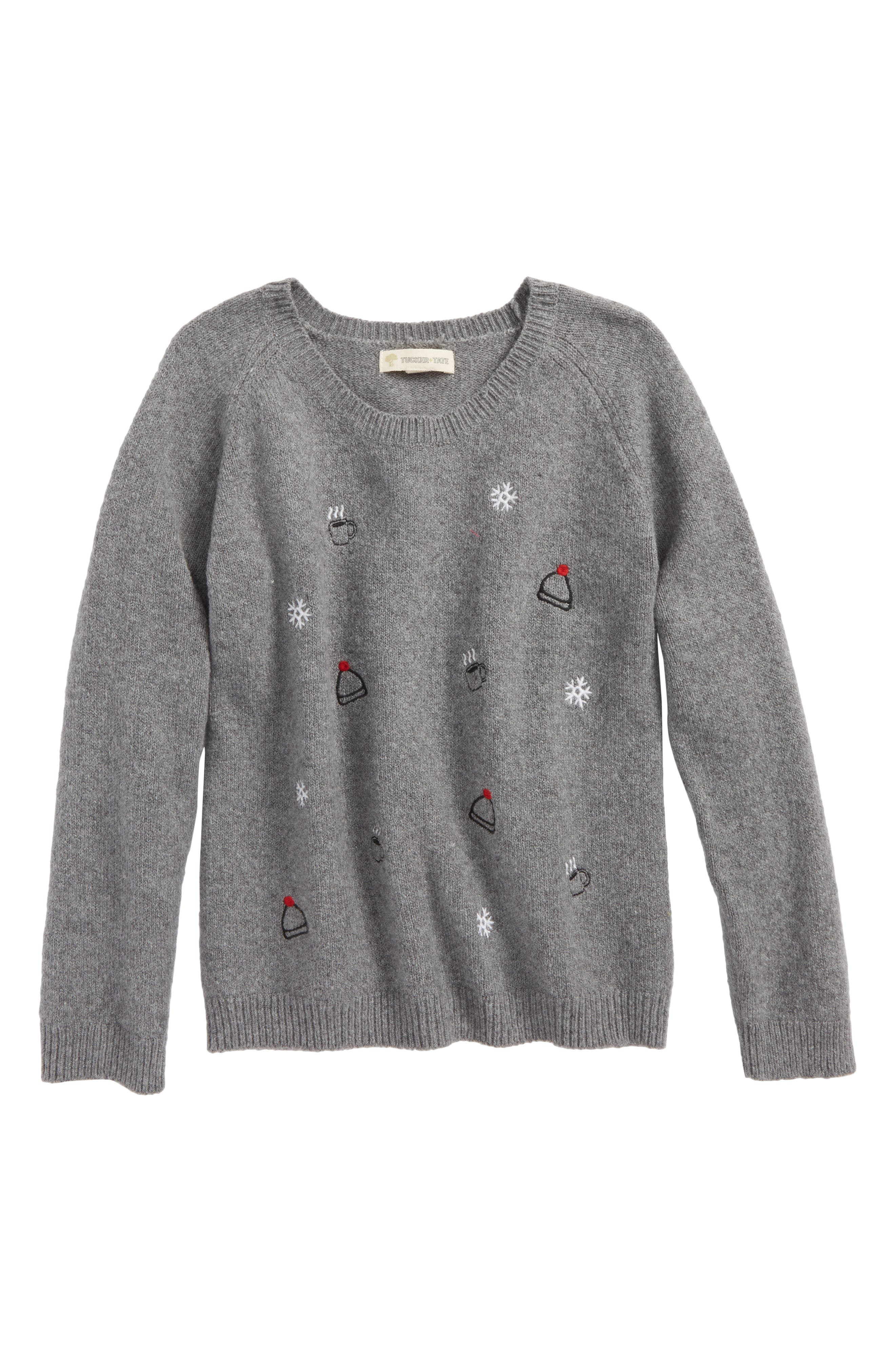 Embroidered Sweater,                         Main,                         color, Grey Medium Heather Icons
