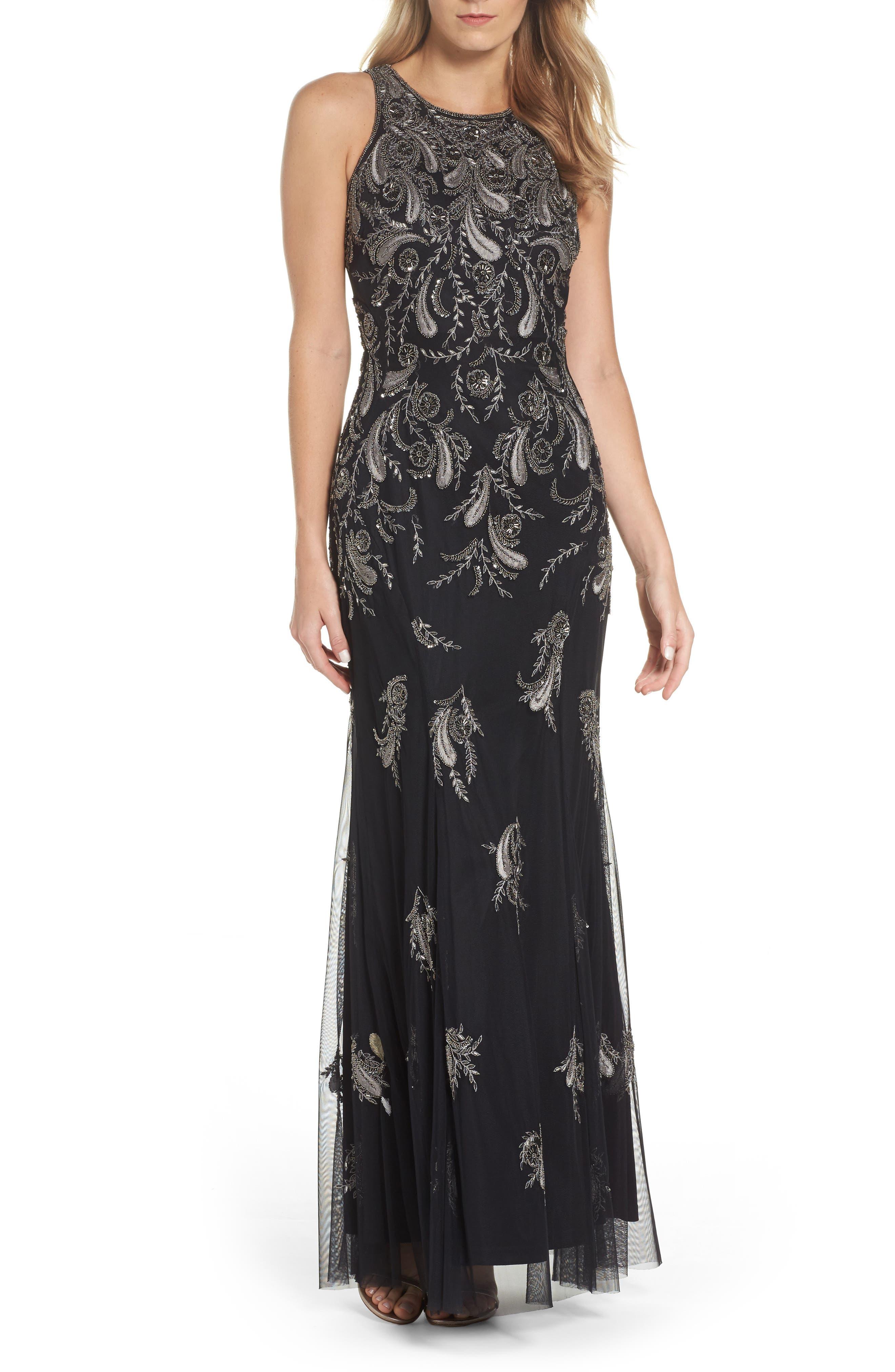 Embellished Sheer Back Maxi Dress,                         Main,                         color, Black/ Mercury